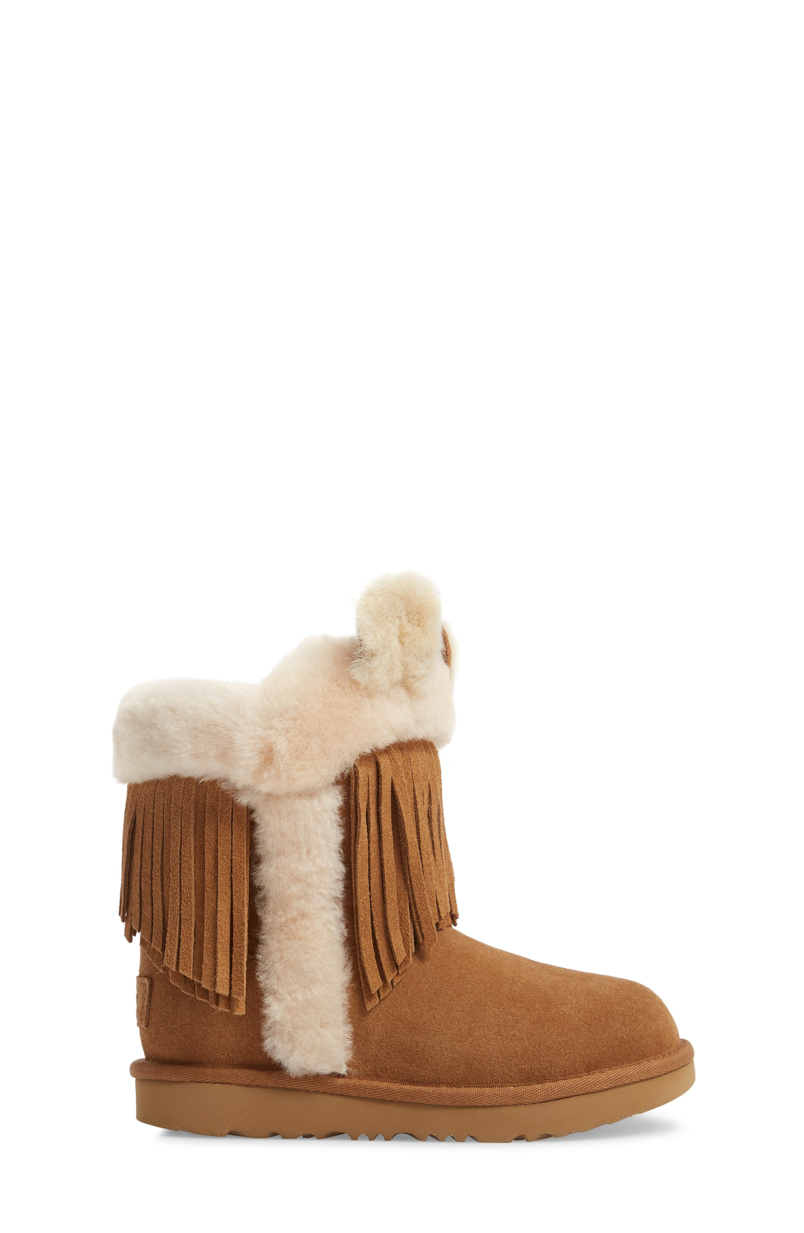 Darlala Classic II Genuine Shearling Boot,                             Alternate thumbnail 3, color,                             CHESTNUT