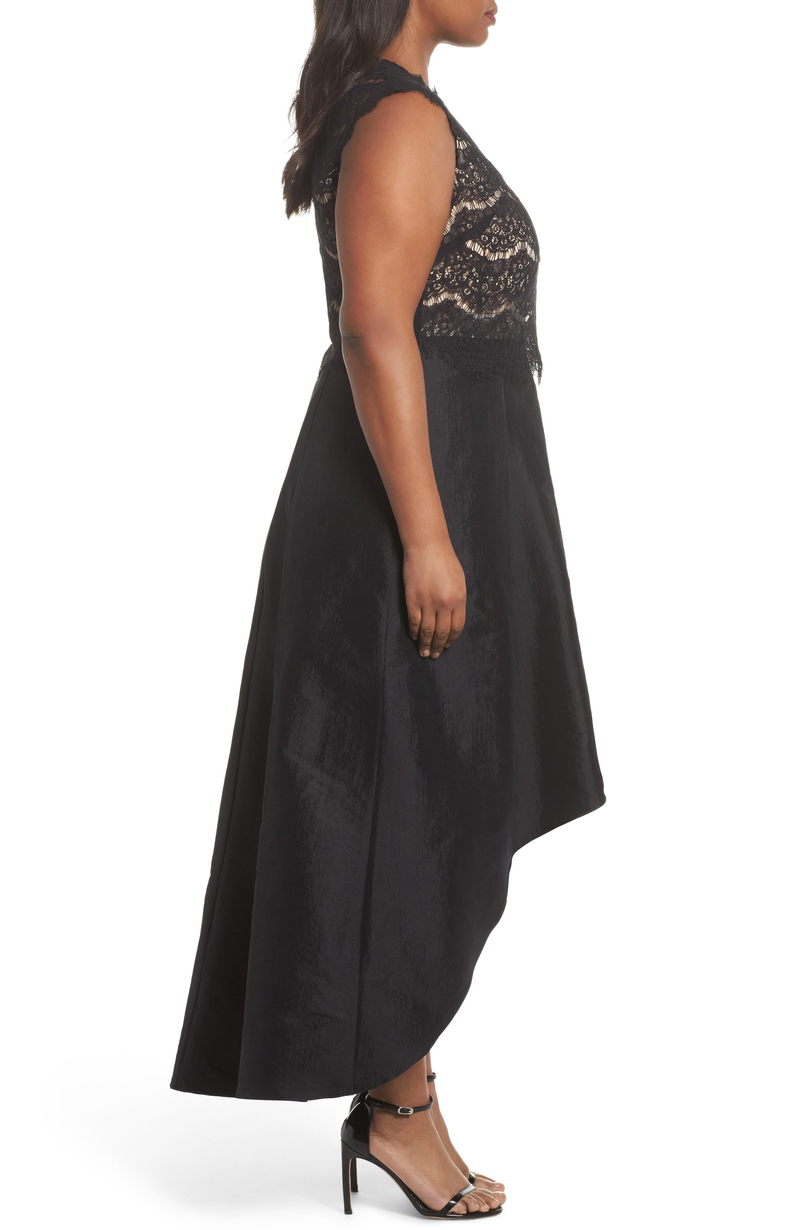 Lace & Taffeta Gown,                             Alternate thumbnail 3, color,                             BLACK