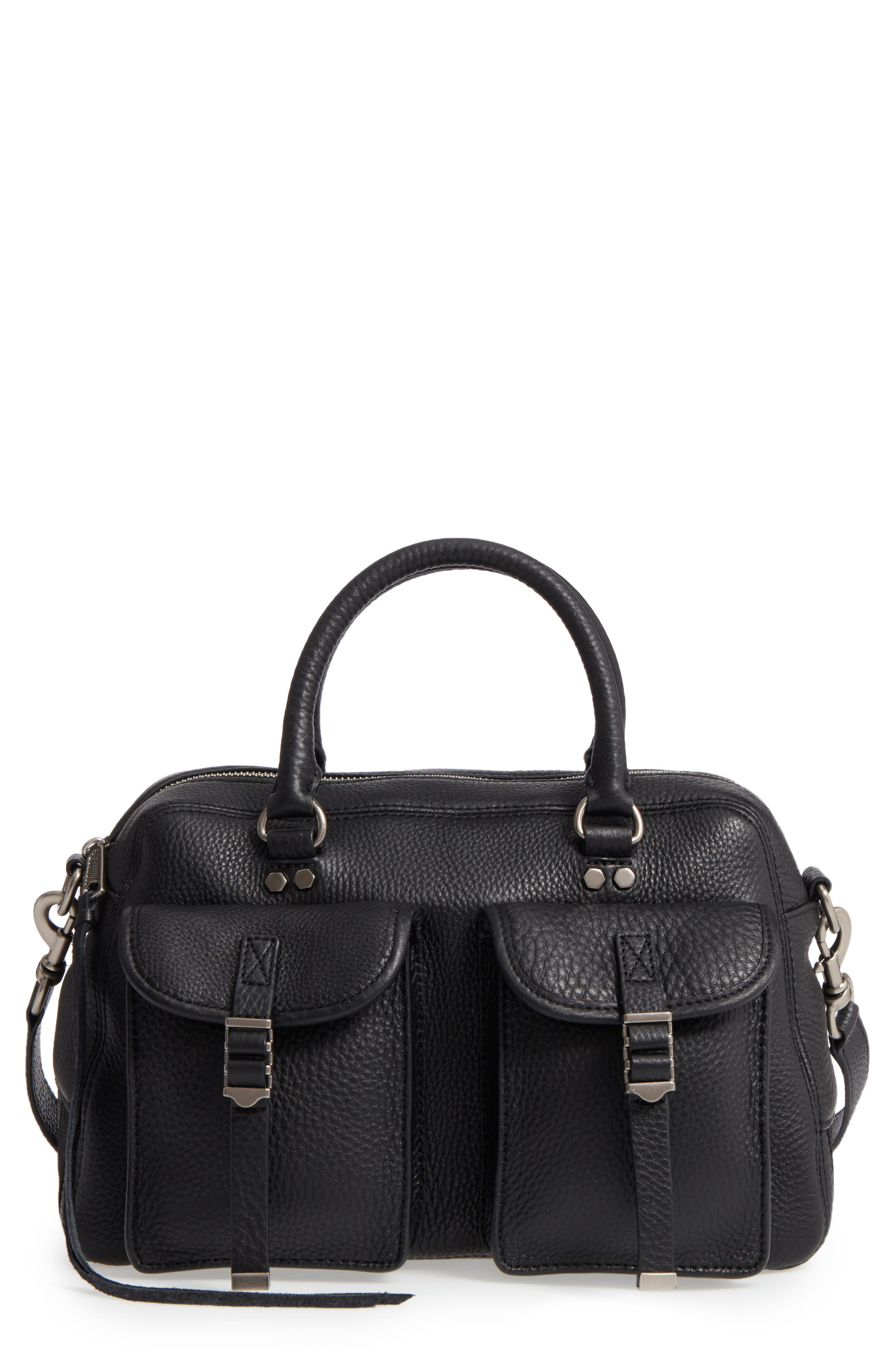Military Pocket Leather Satchel,                         Main,                         color, 001