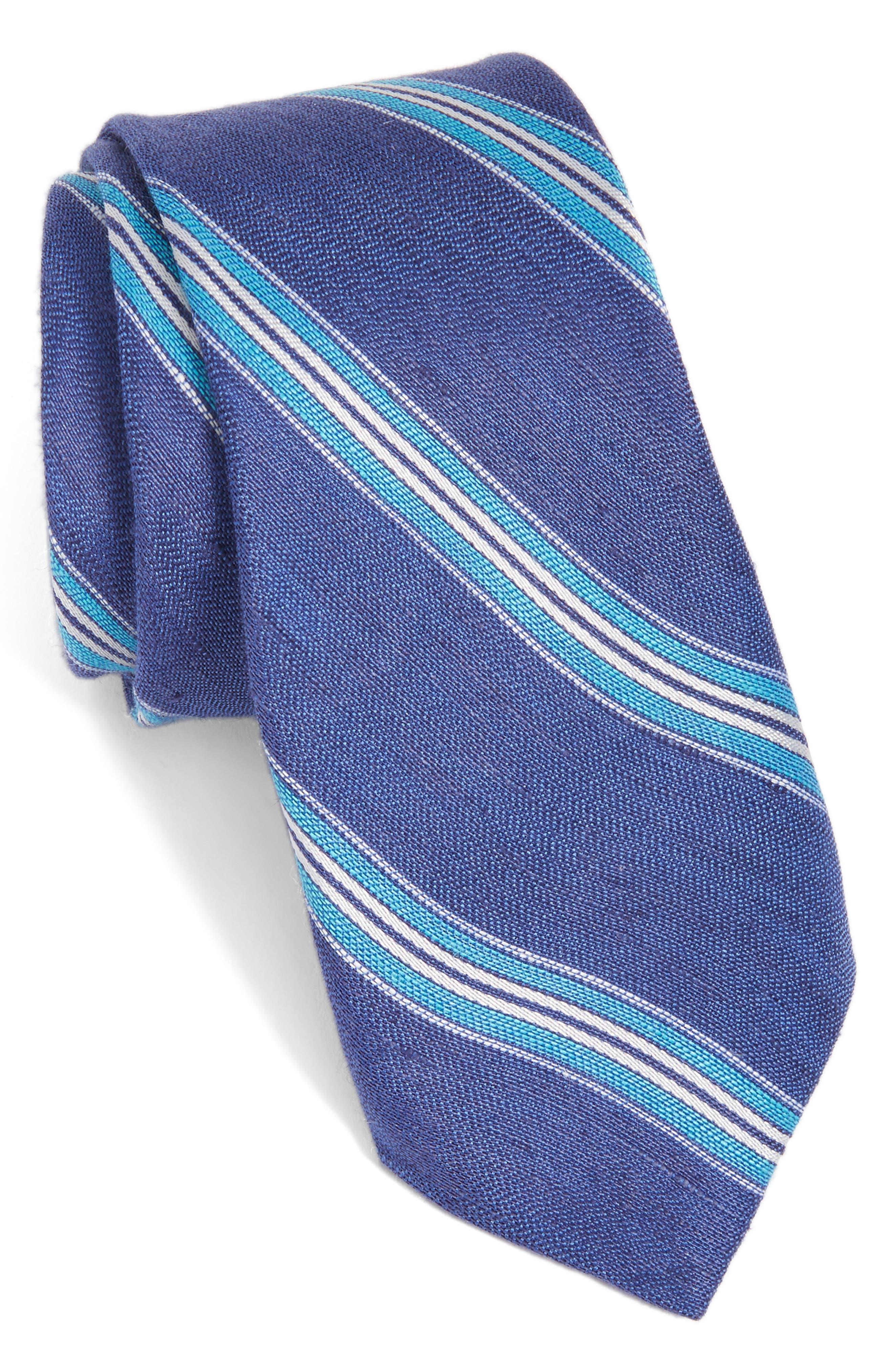 Stripe Linen & Silk Tie,                             Main thumbnail 1, color,                             435