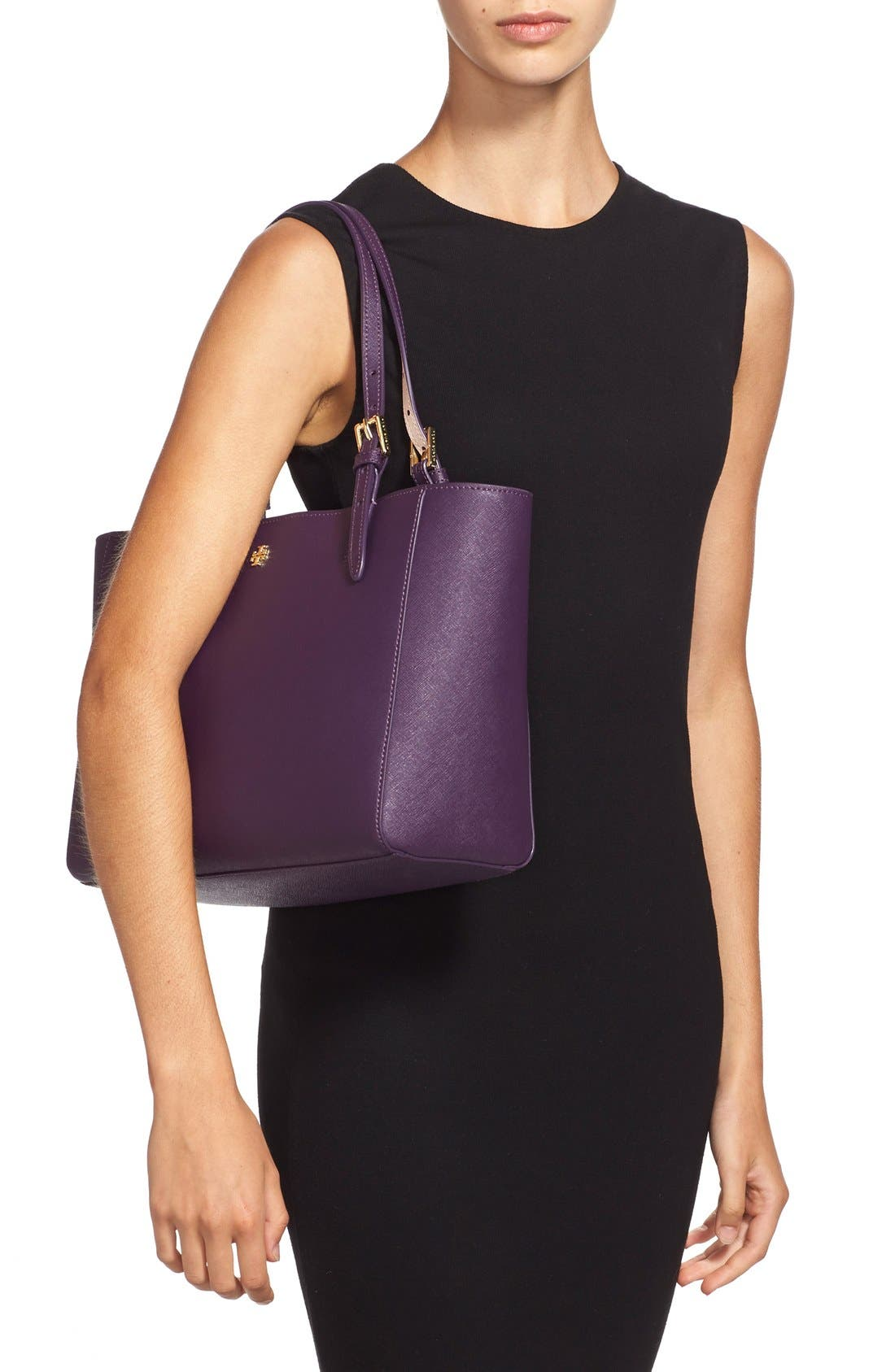 'Small York' Saffiano Leather Buckle Tote,                             Alternate thumbnail 27, color,
