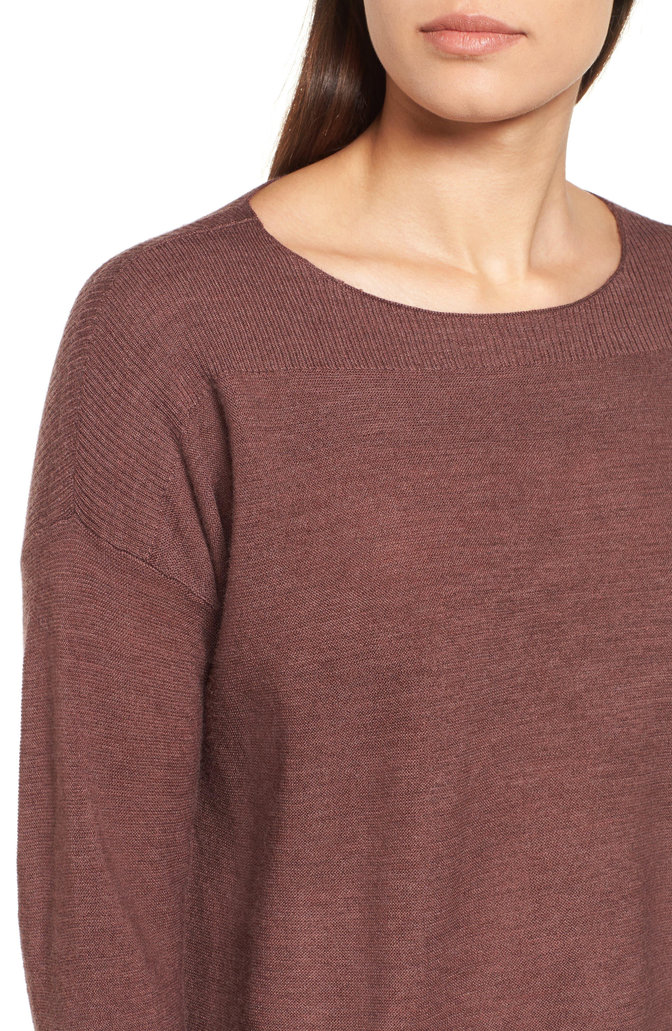 Mix Stitch Merino Bateau Neck Sweater,                             Alternate thumbnail 4, color,                             216