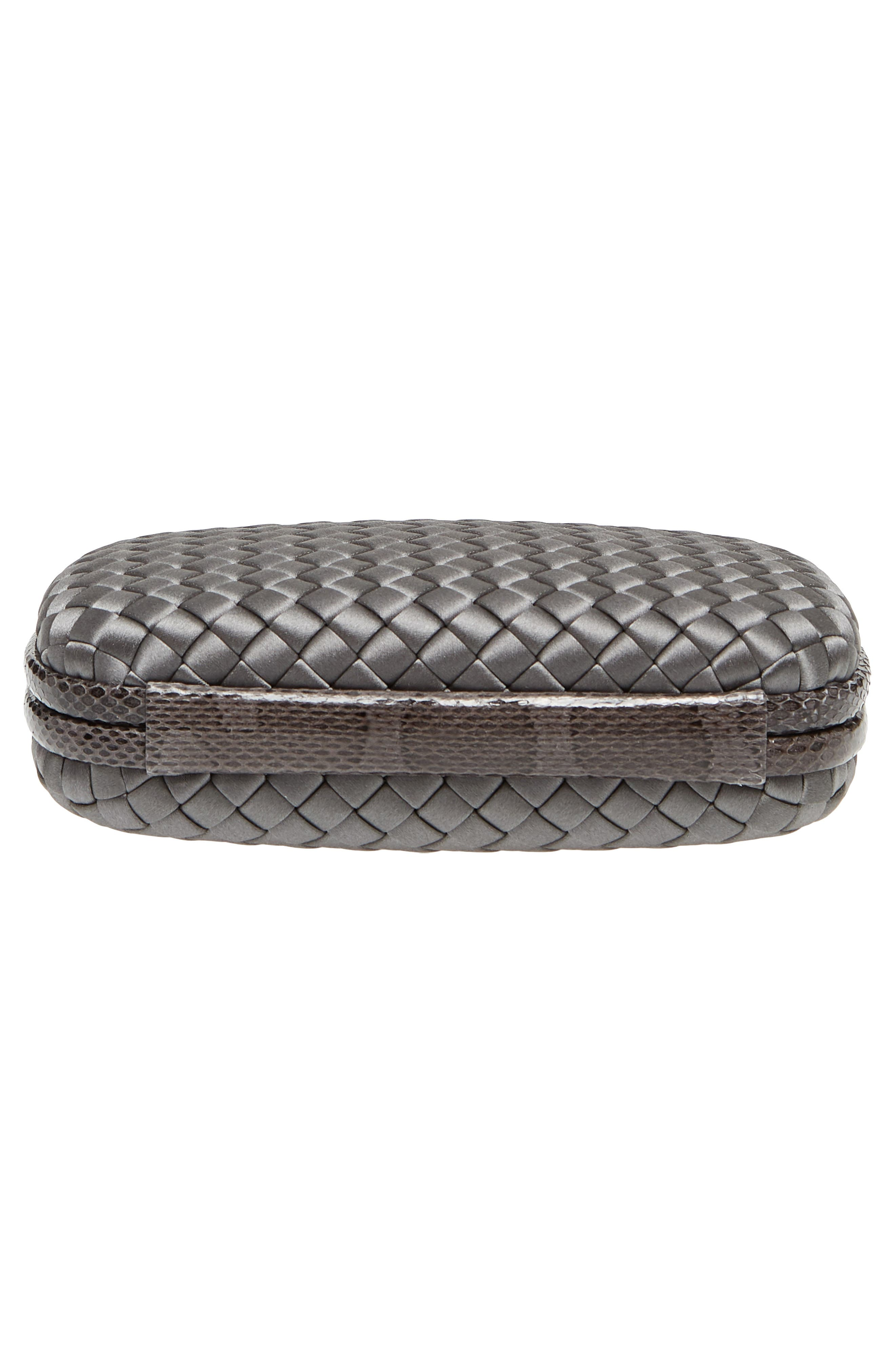 New Satin & Genuine Snakeskin Knot Clutch,                             Alternate thumbnail 6, color,                             8522- NEW LIGHT GREY