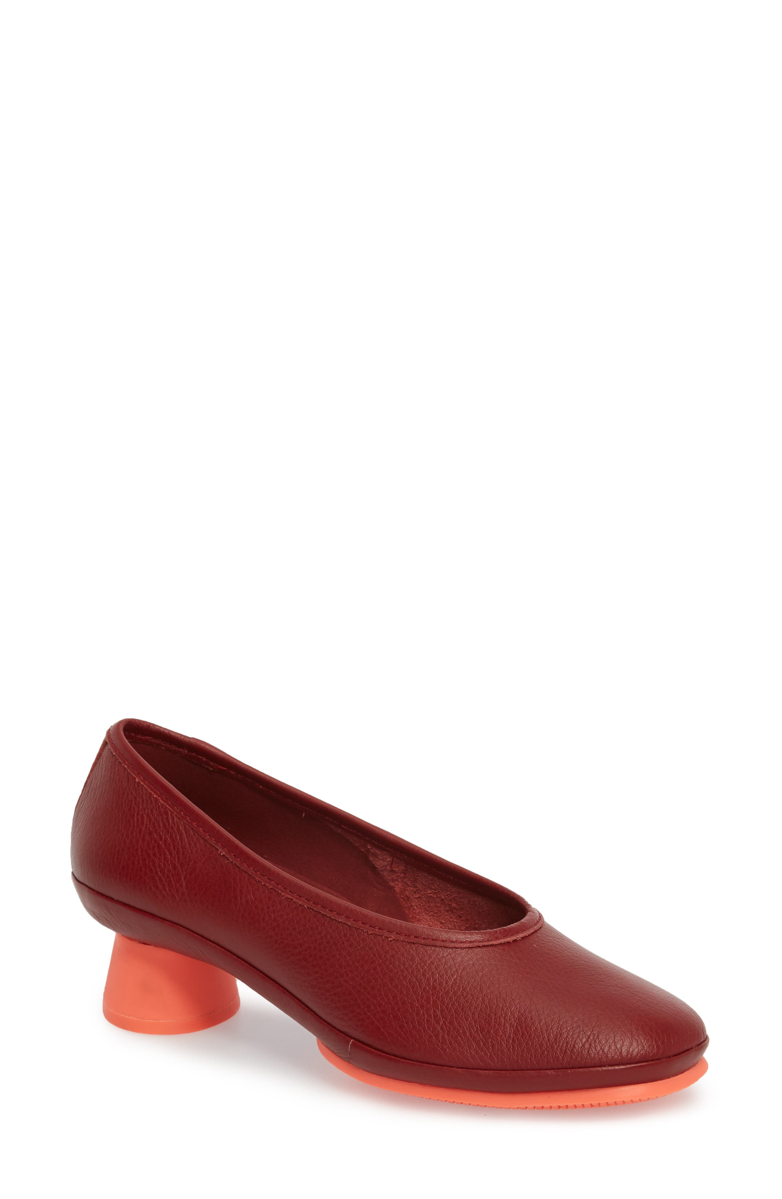 Alright Cone Heel Pump,                             Main thumbnail 1, color,                             DARK RED LEATEHR
