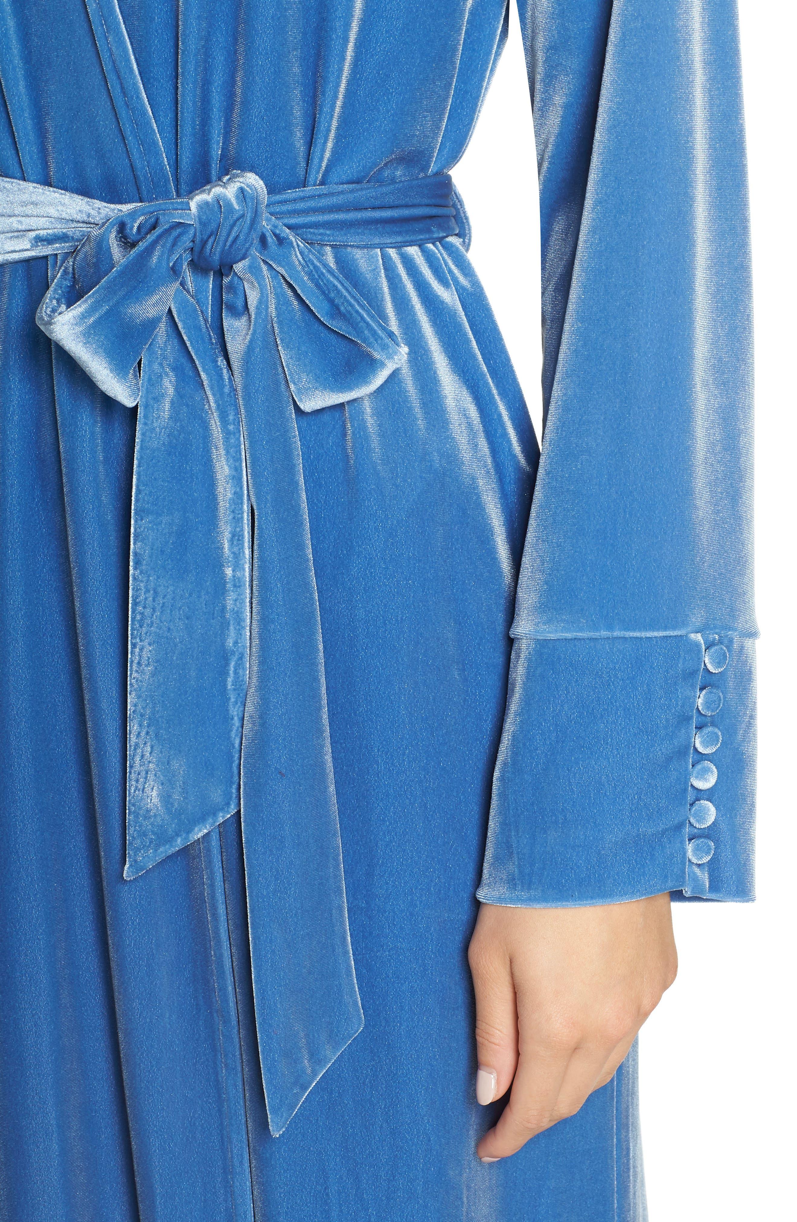 Dream Away Velour Robe,                             Alternate thumbnail 4, color,                             BLUE DELFT