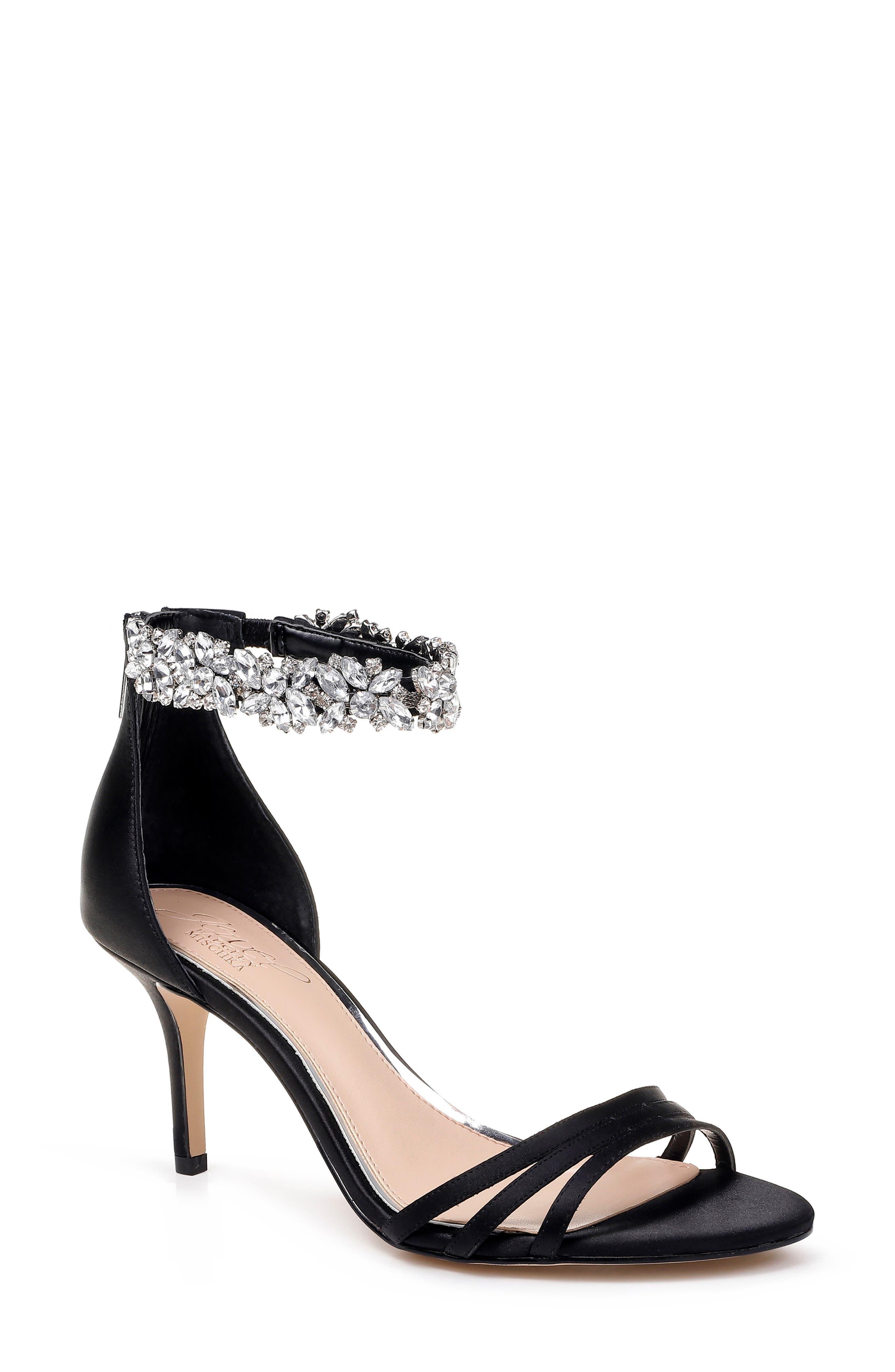 Jewel Badgley Mischka Zamora Ankle Strap Sandal, Black
