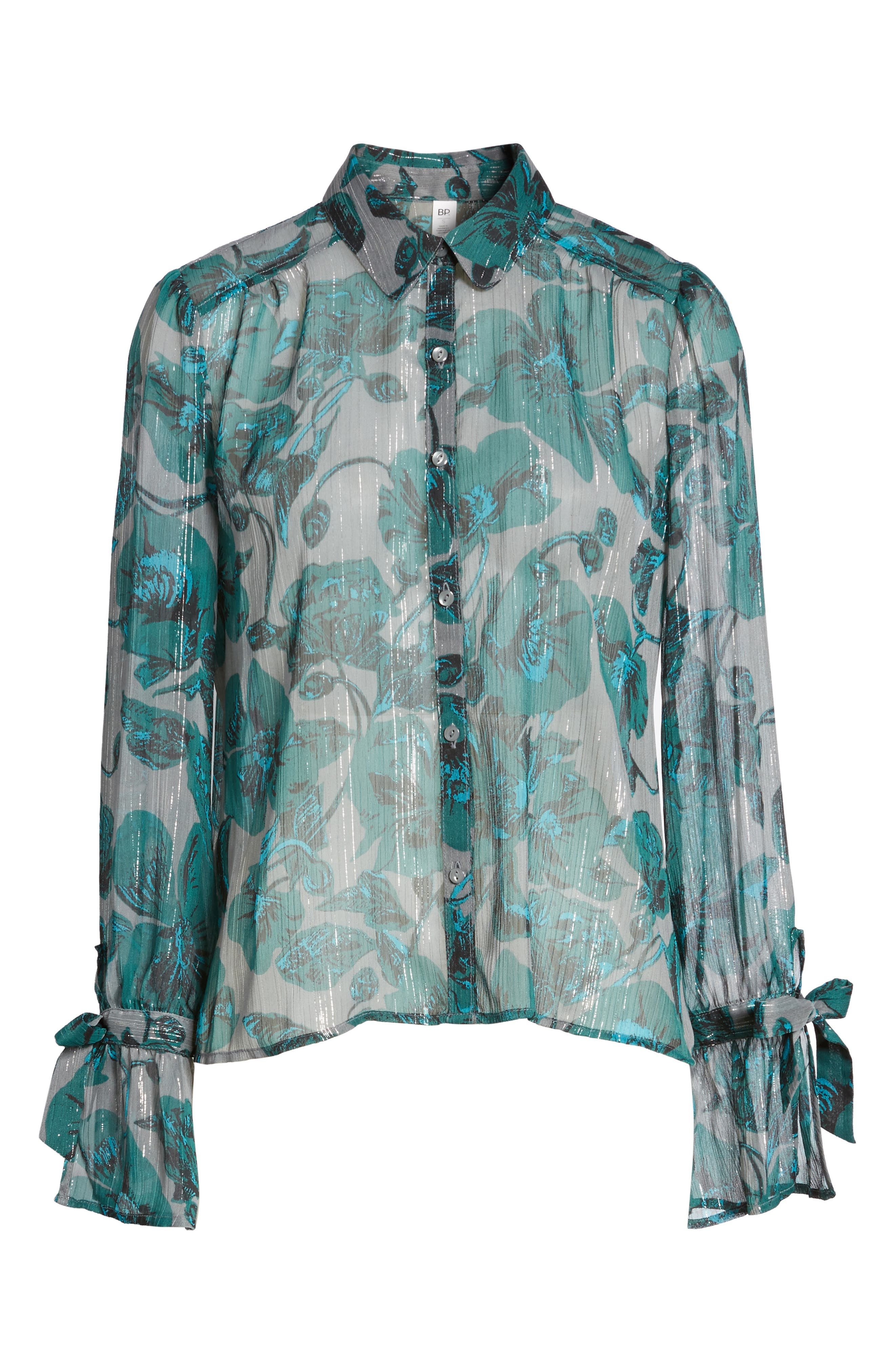 Sheer Metallic Floral Shirt,                             Alternate thumbnail 6, color,