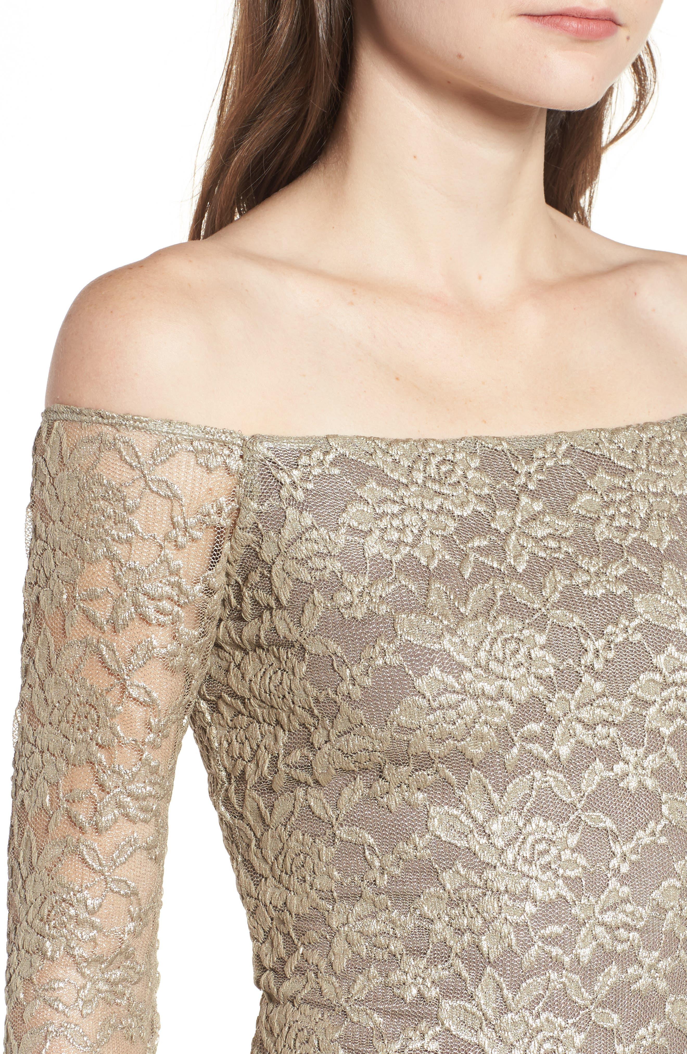 Double Exposure Lace Sheath Dress,                             Alternate thumbnail 4, color,                             710