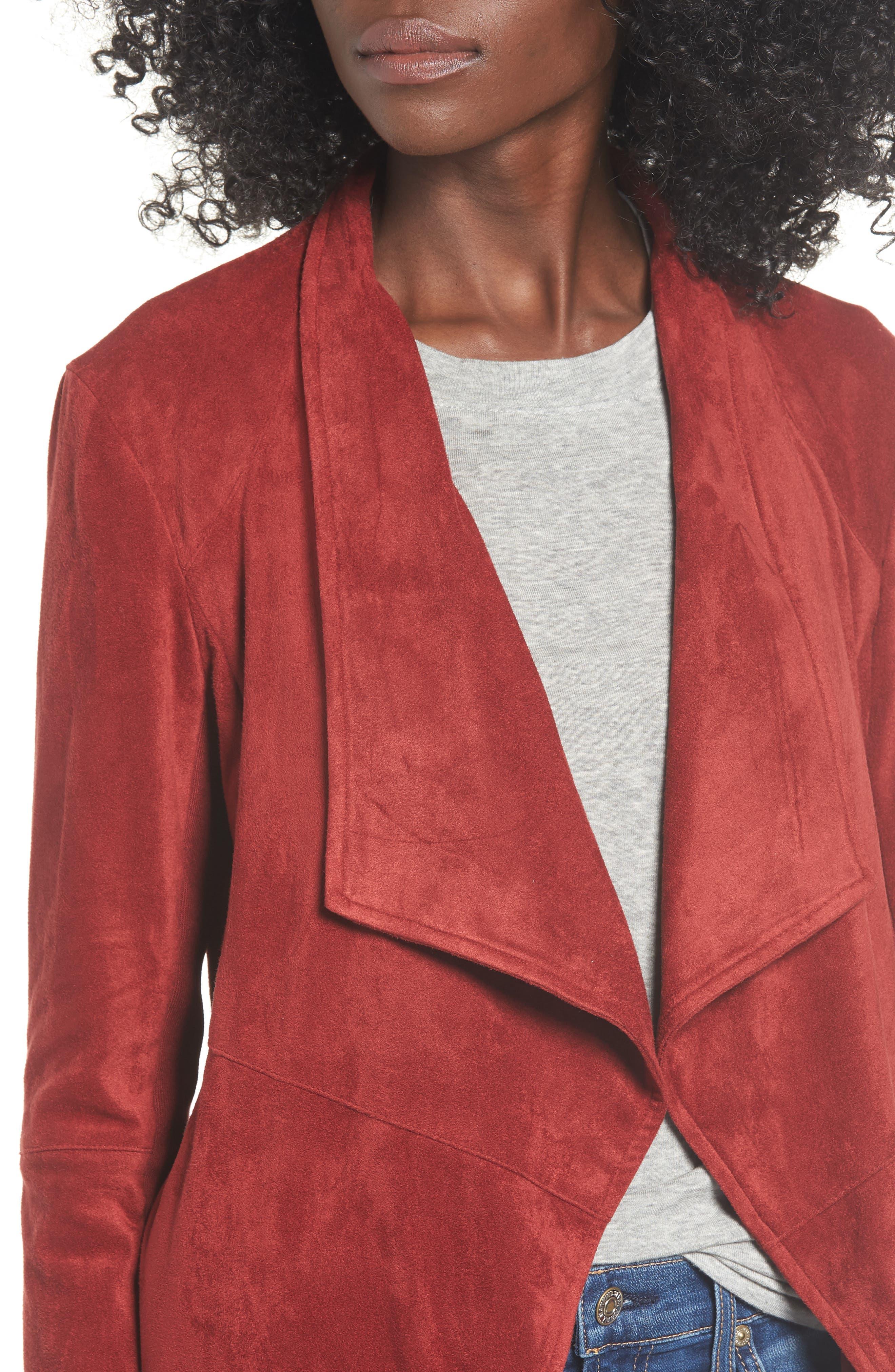 BB DAKOTA,                             Nicholson Faux Suede Drape Front Jacket,                             Alternate thumbnail 5, color,                             BRICK RED
