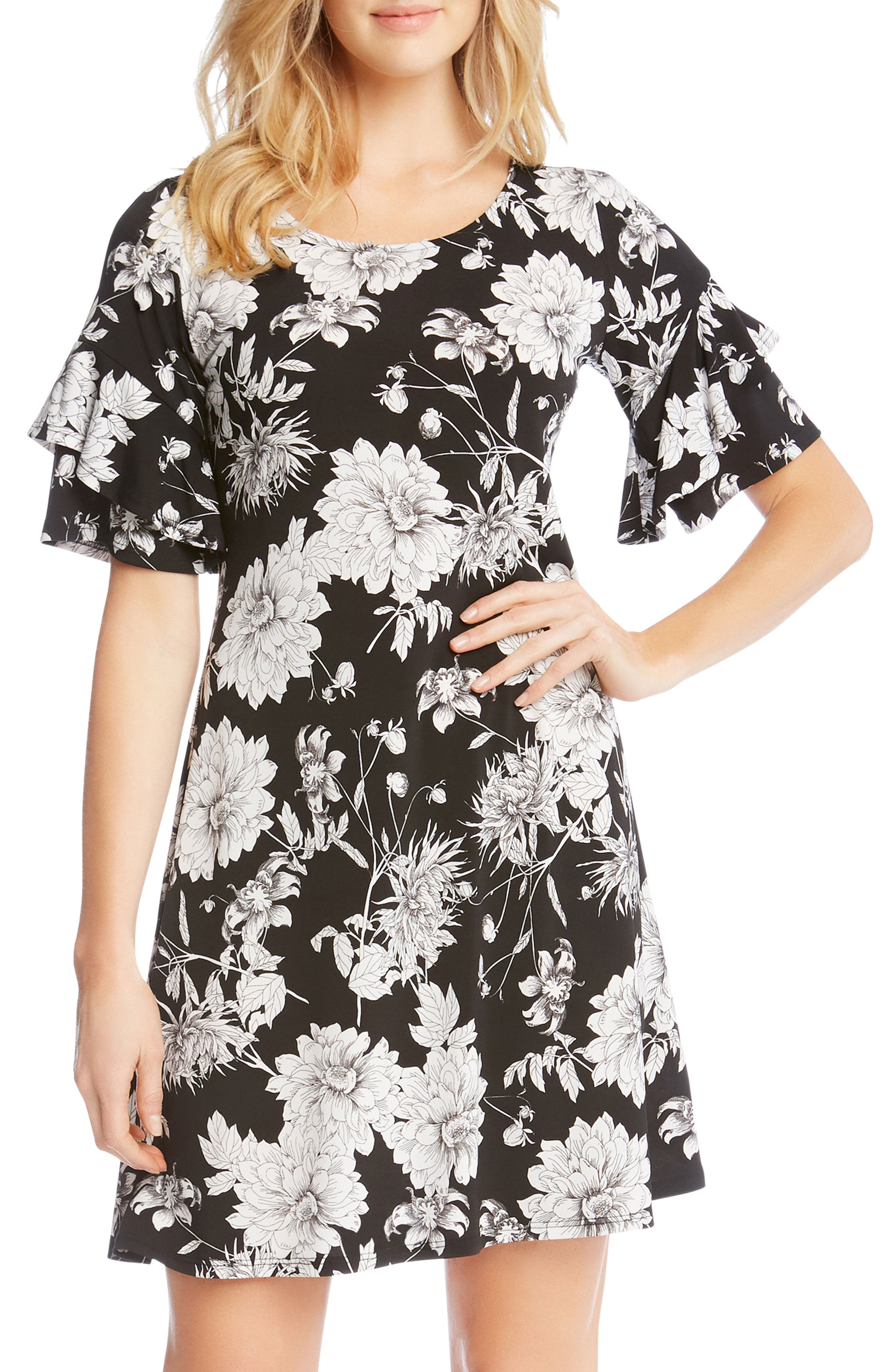 Ruffle Sleeve Floral Dress,                             Alternate thumbnail 3, color,