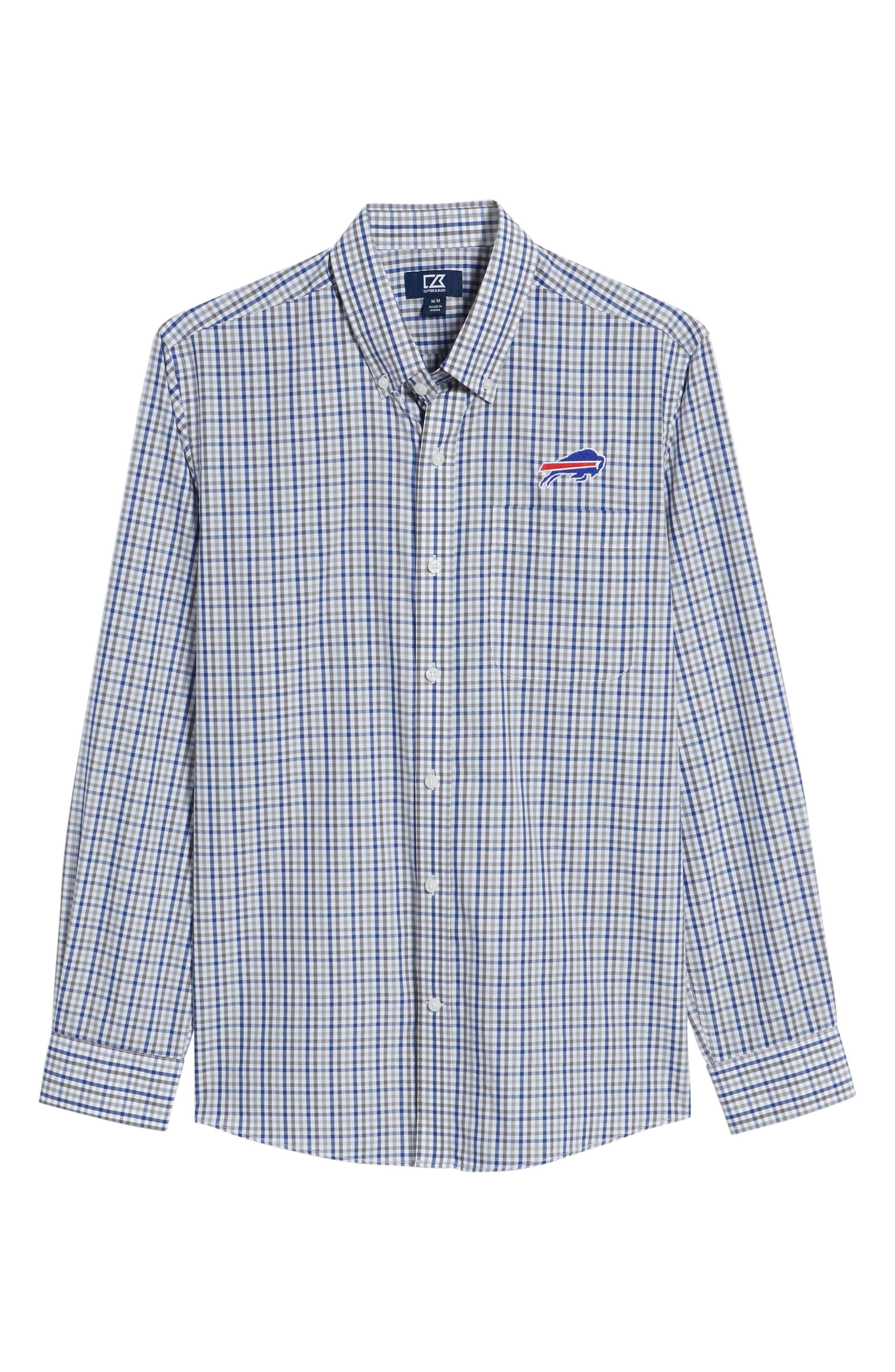 Buffalo Bills - Gilman Regular Fit Plaid Sport Shirt,                             Alternate thumbnail 6, color,                             TOUR BLUE