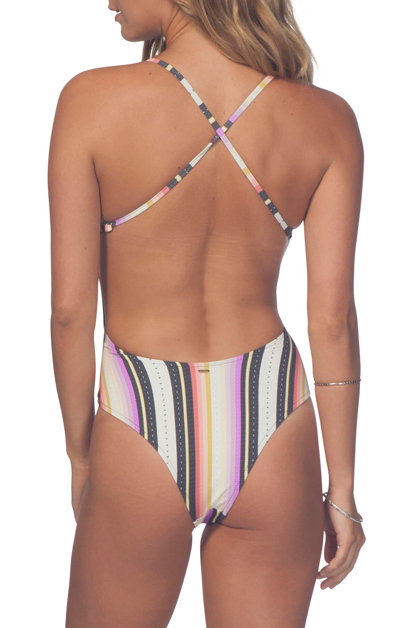 Sayulita Stripe One-Piece Swimsuit,                             Alternate thumbnail 2, color,                             100