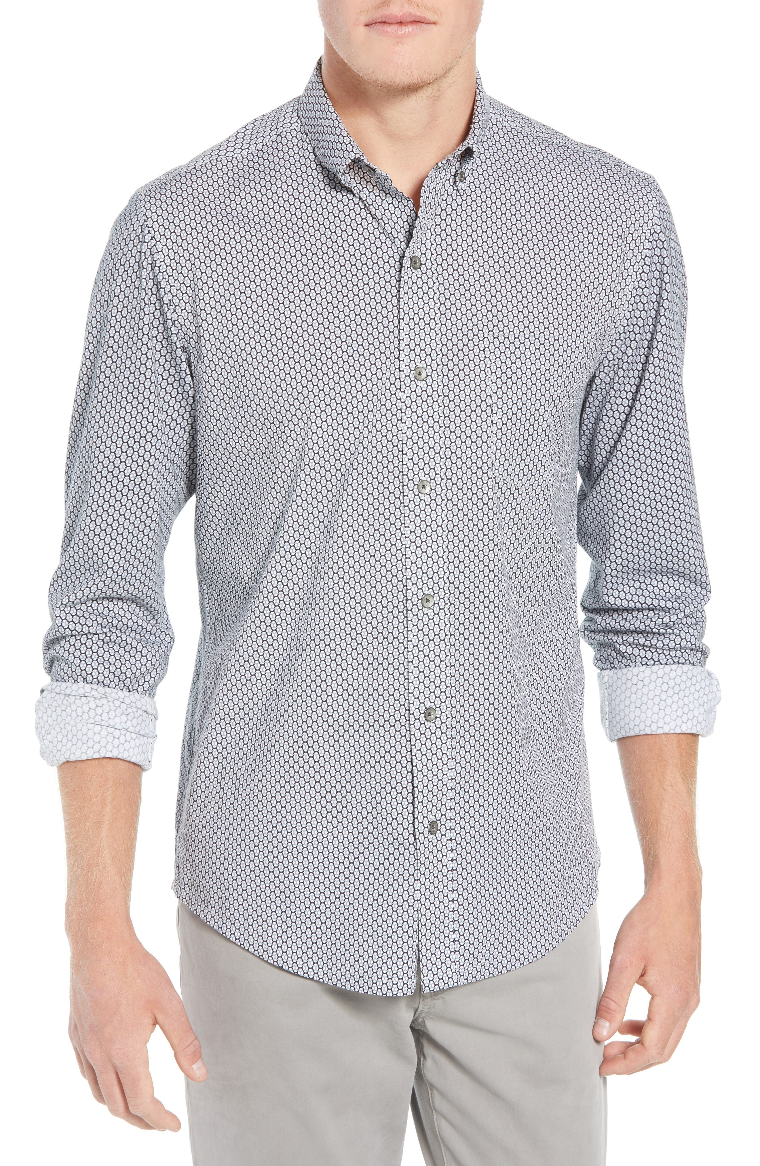 Reworked Slim Fit Print Sport Shirt,                         Main,                         color, WHITE/ GREY