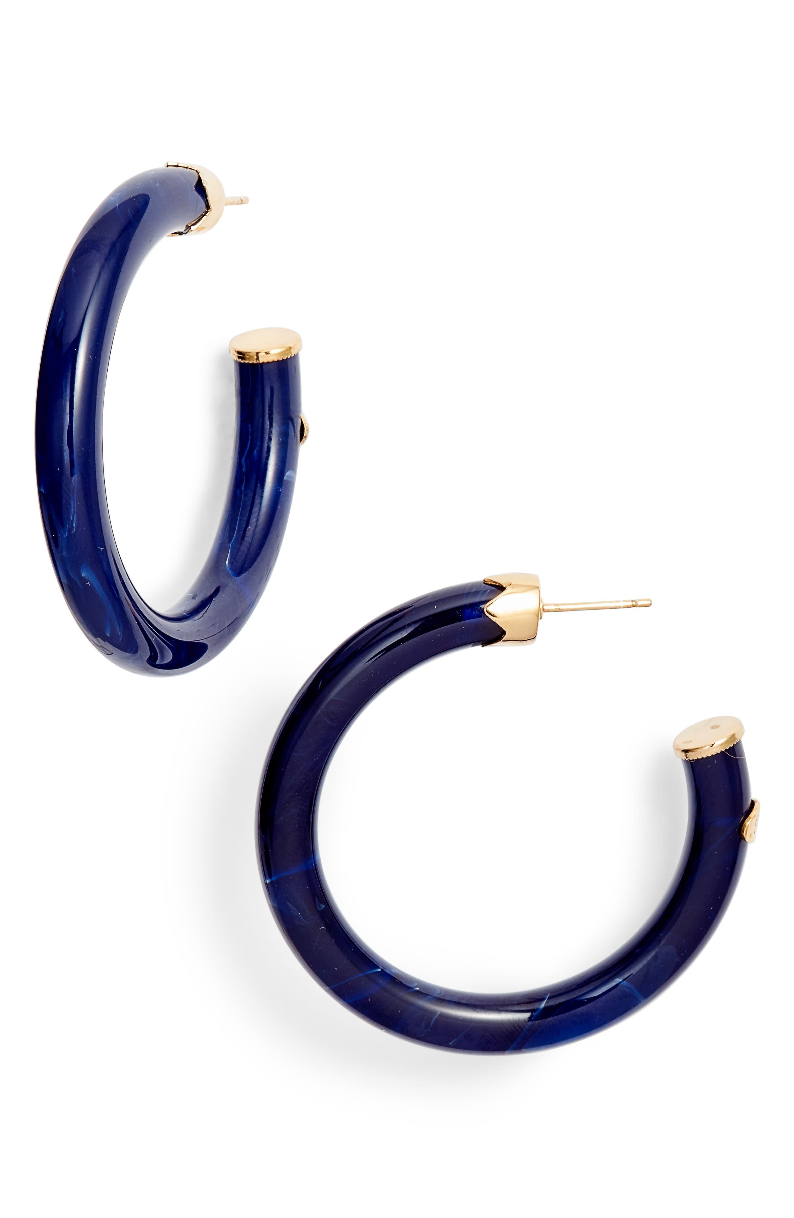 Caftan Medium Hoop Earrings,                         Main,                         color, BLUE