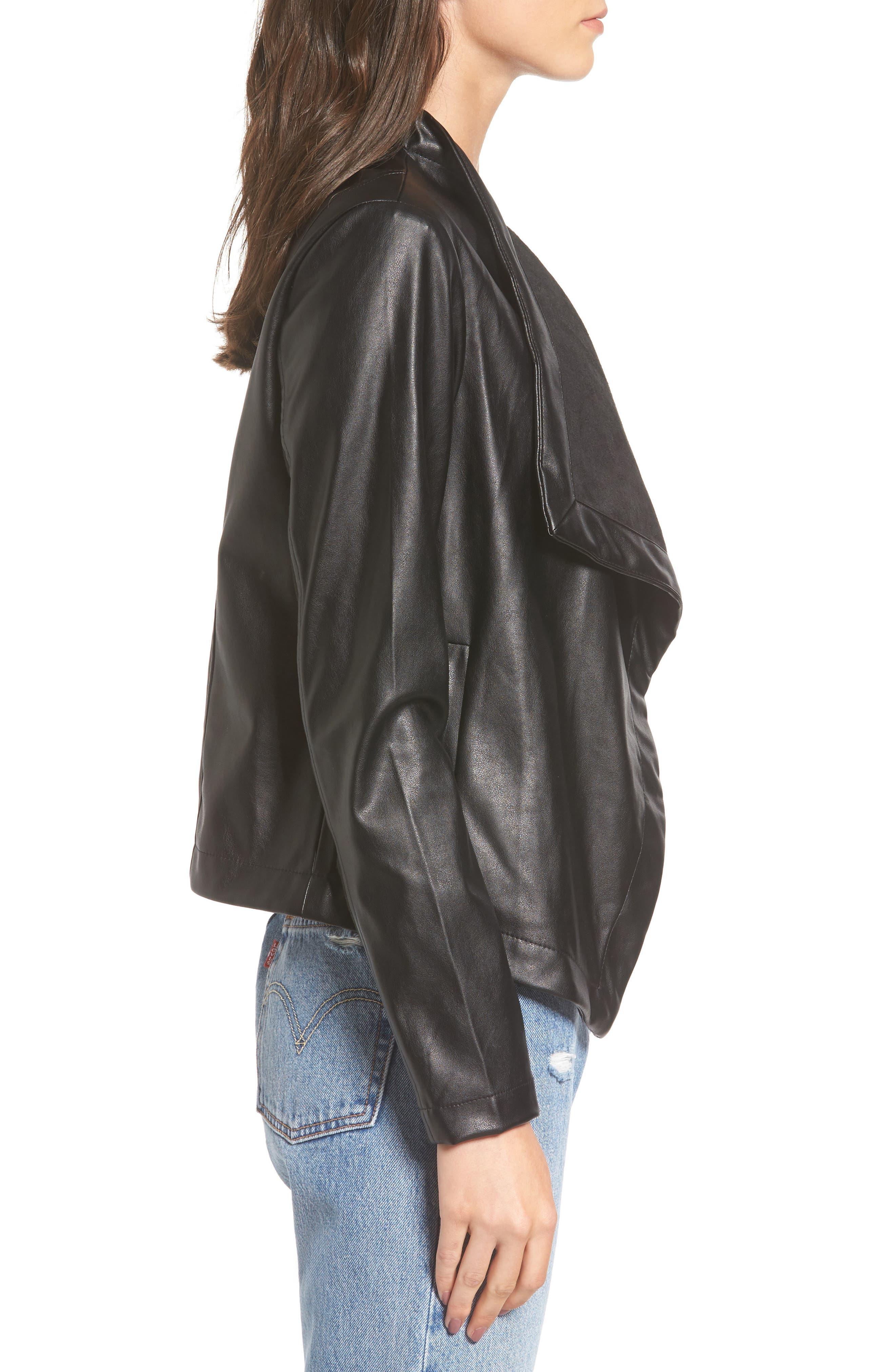 'Peppin' Drape Front Faux Leather Jacket,                             Alternate thumbnail 21, color,