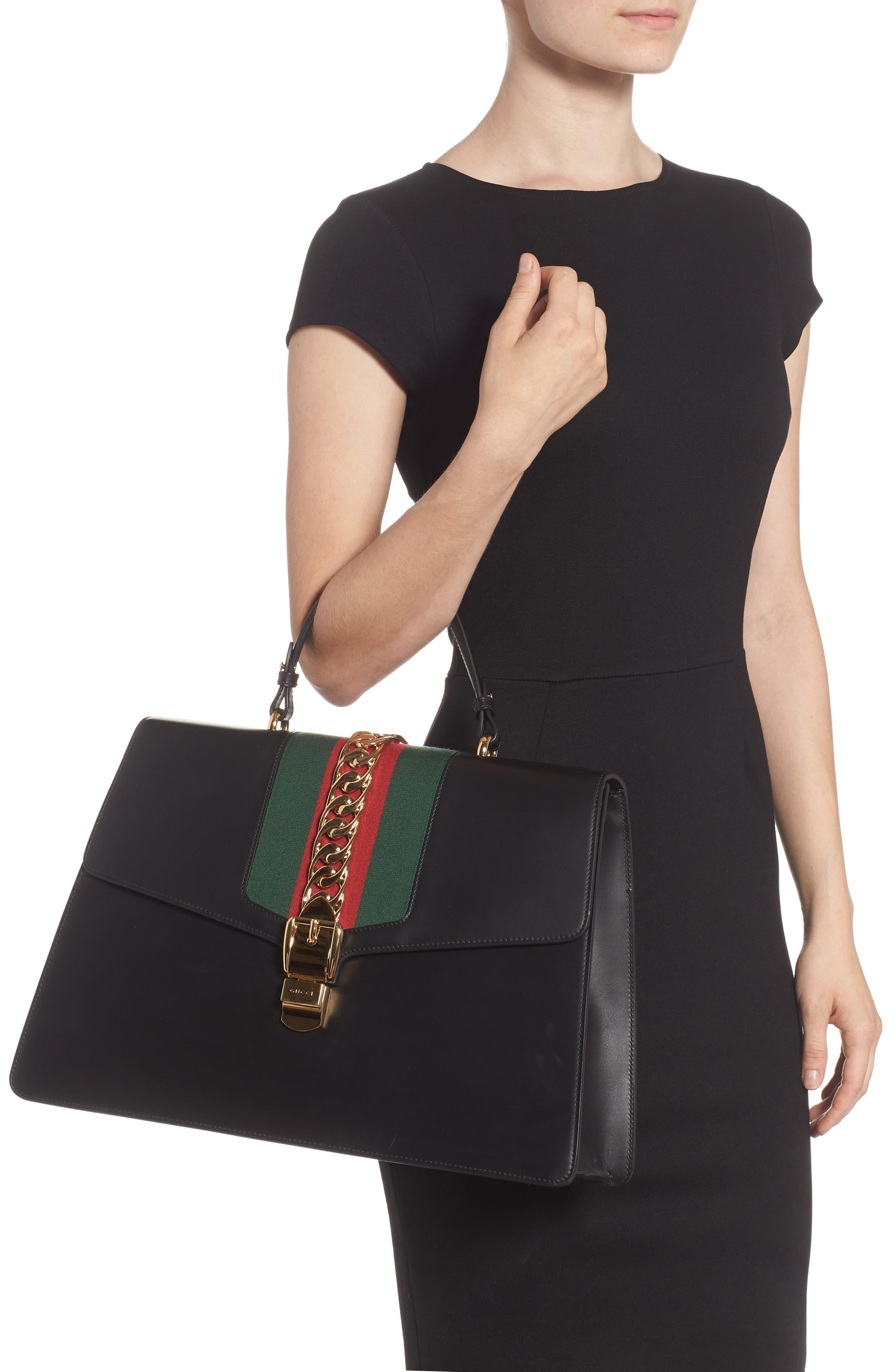 Maxi Sylvie Top Handle Leather Shoulder Bag,                             Alternate thumbnail 2, color,                             NERO/ VERT RED