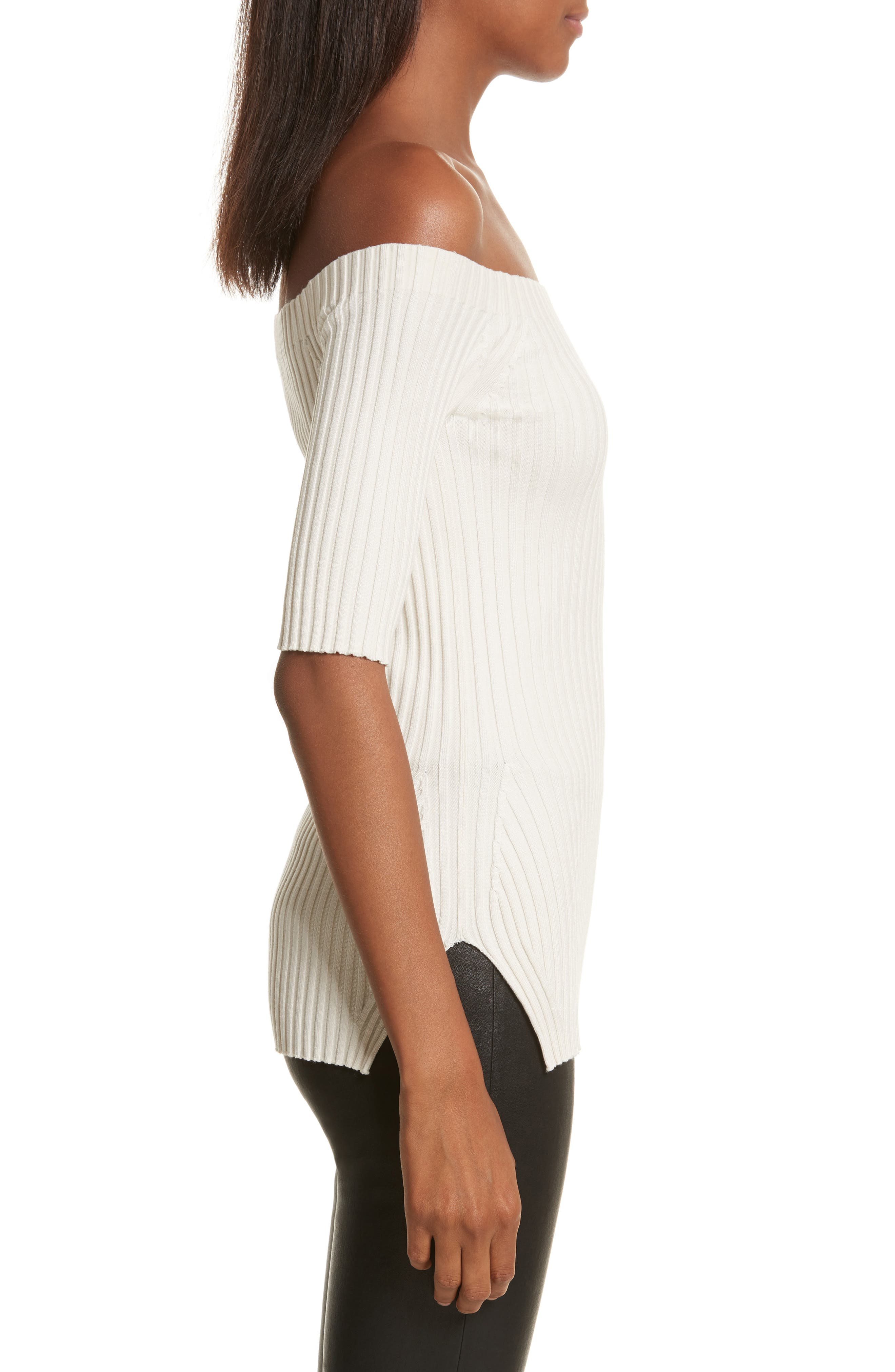 Rib Knit Stretch Silk Off the Shoulder Top,                             Alternate thumbnail 6, color,