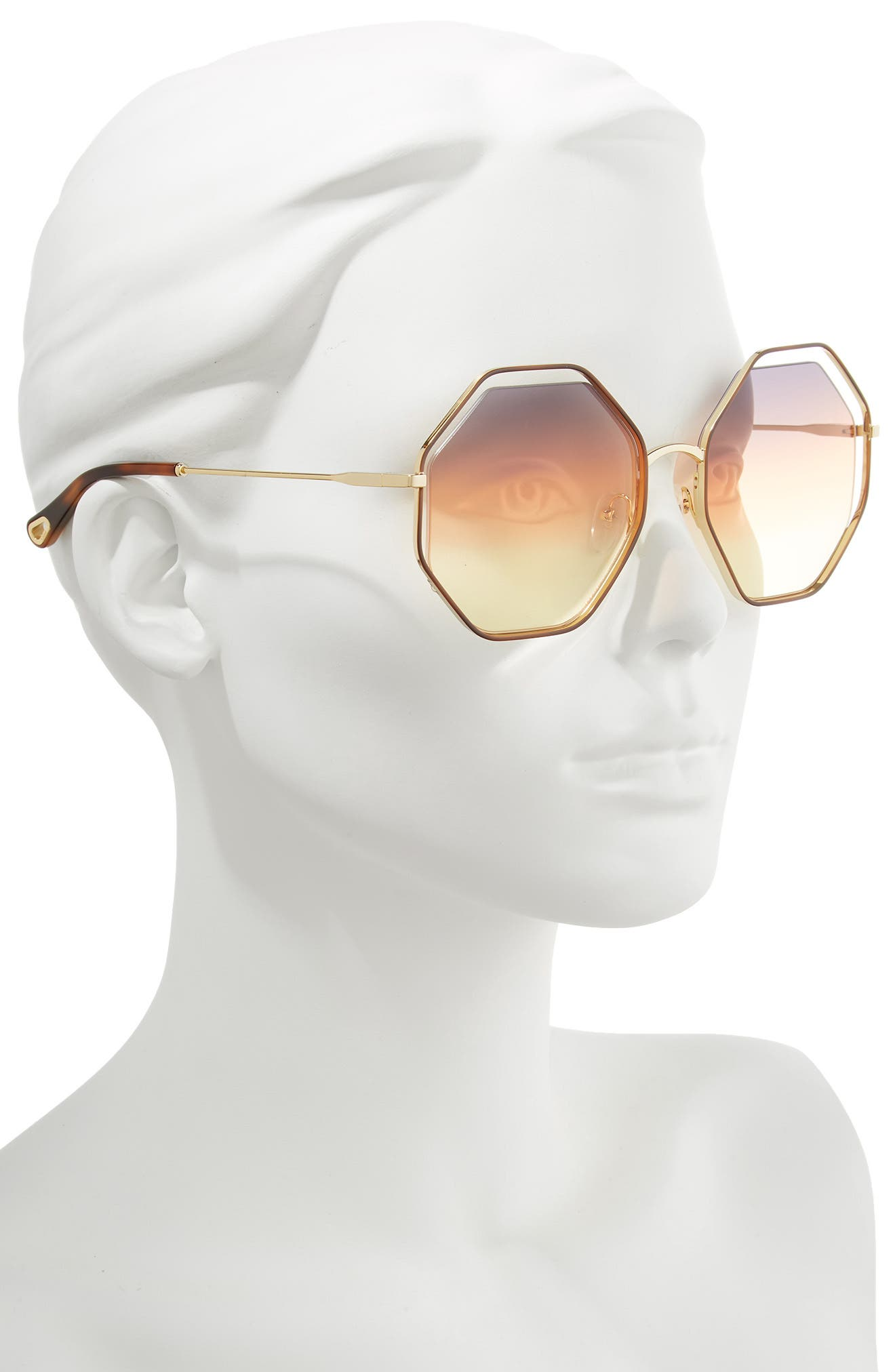 58mm Octagonal Halo Lens Sunglasses,                             Alternate thumbnail 2, color,                             HAVANA/ GREY ORANGE YELLOW