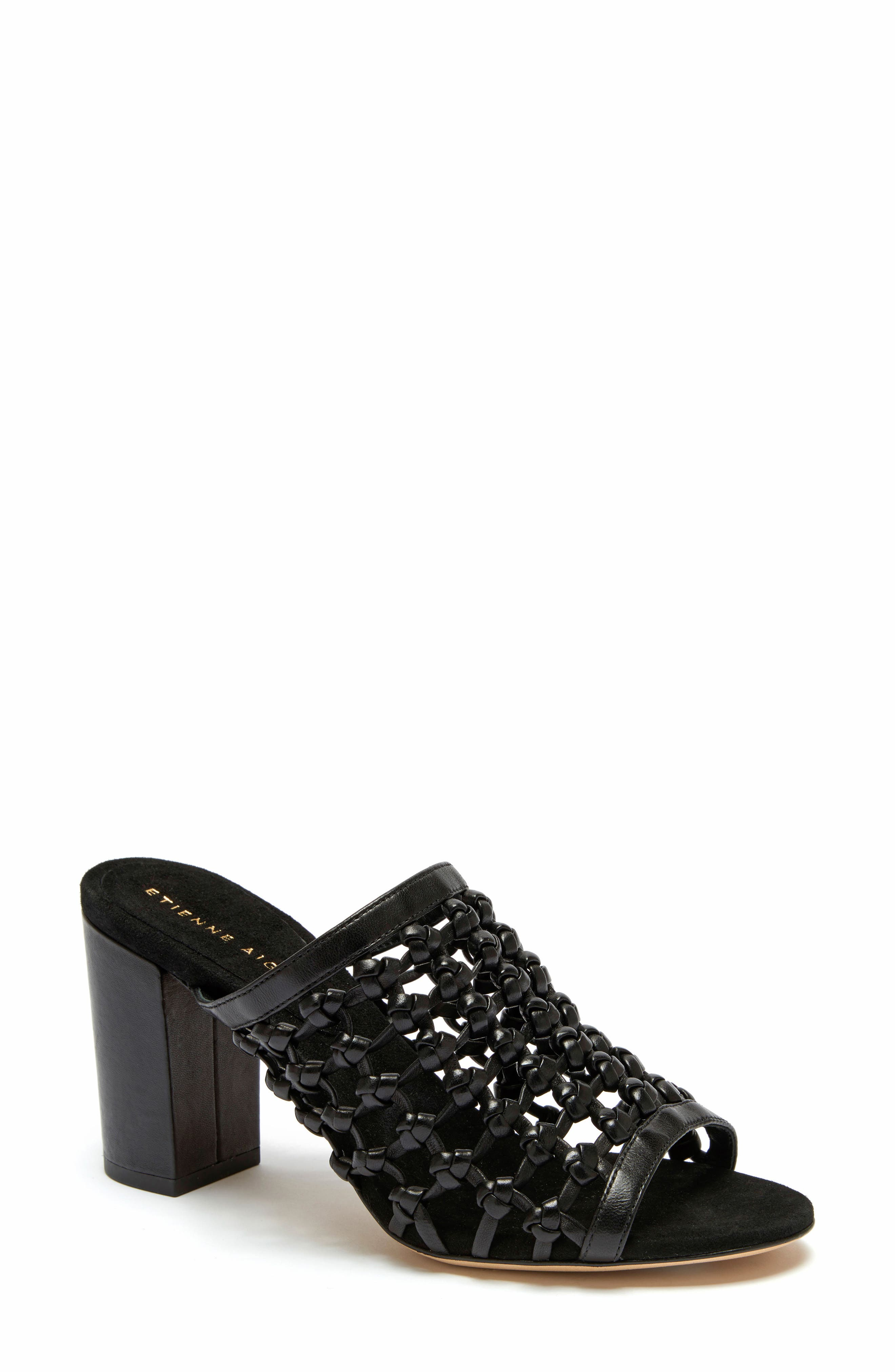 Lanai Sandal,                         Main,                         color, BLACK LEATHER
