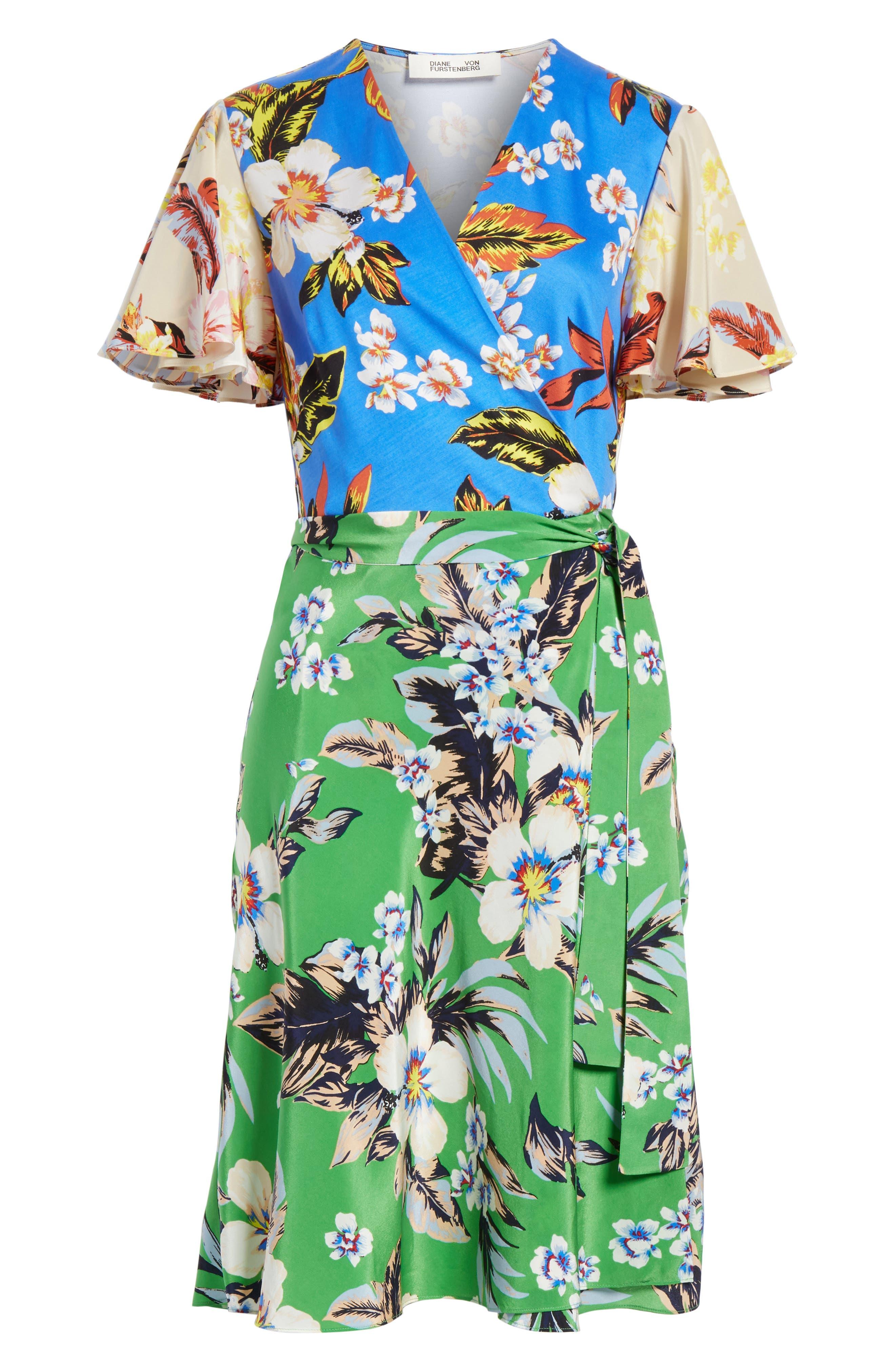 Diane von Furstenberg Flutter Sleeve Silk Wrap Dress,                             Alternate thumbnail 6, color,                             BOLAN PALM MULTI
