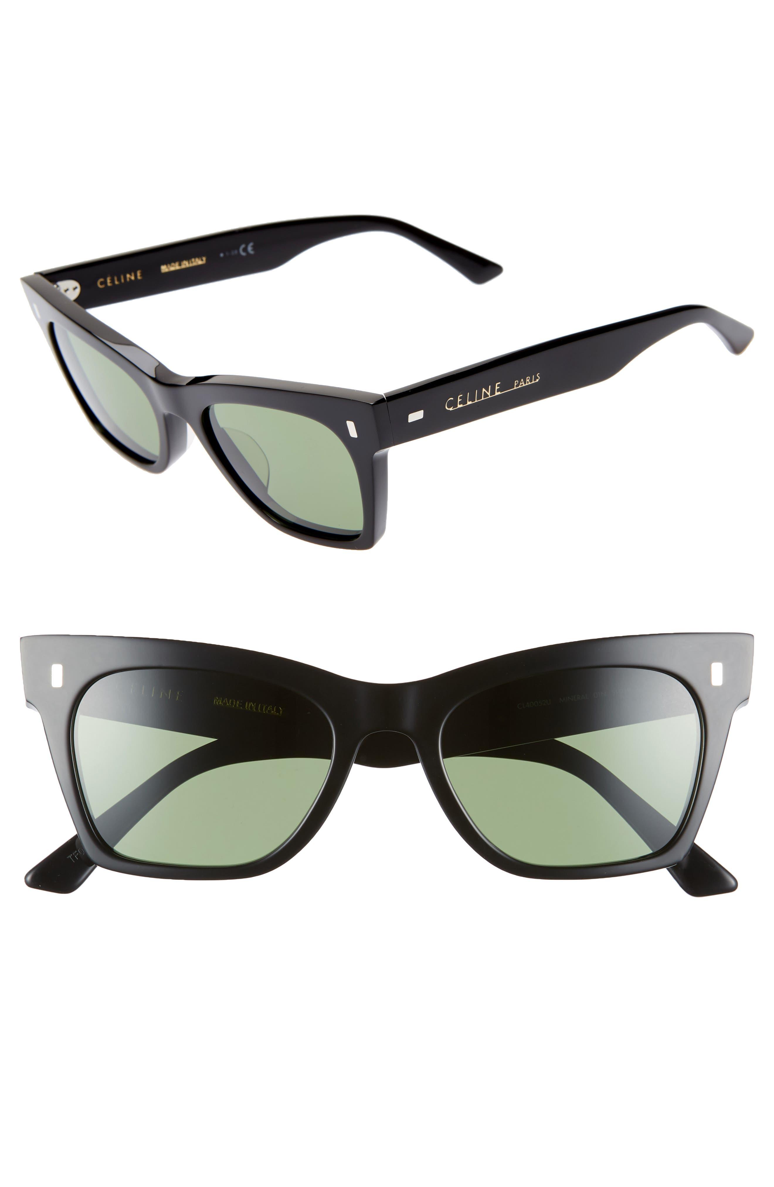 51Mm Smart Fit Sunglasses - Shiny Black/ Green