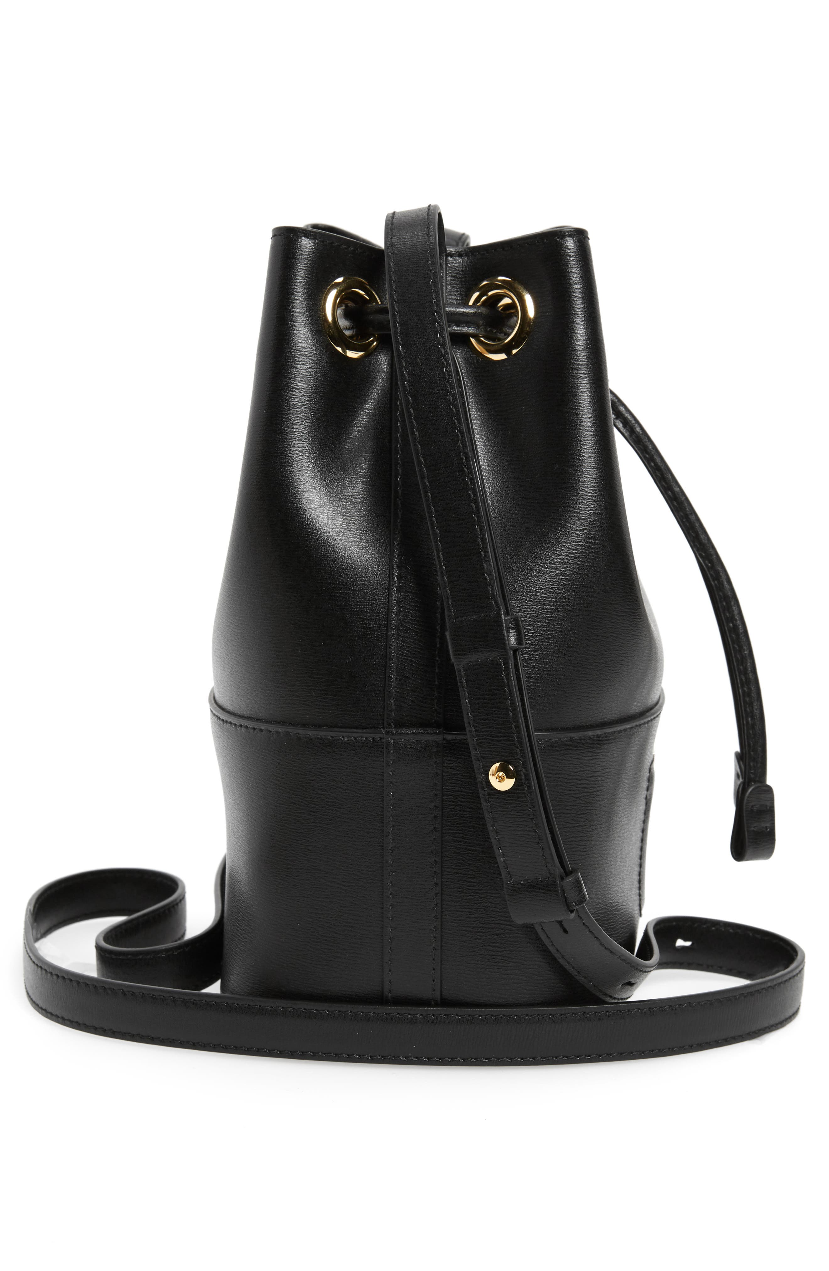 City Quilted Gancio Bucket Bag,                             Alternate thumbnail 5, color,                             BLACK
