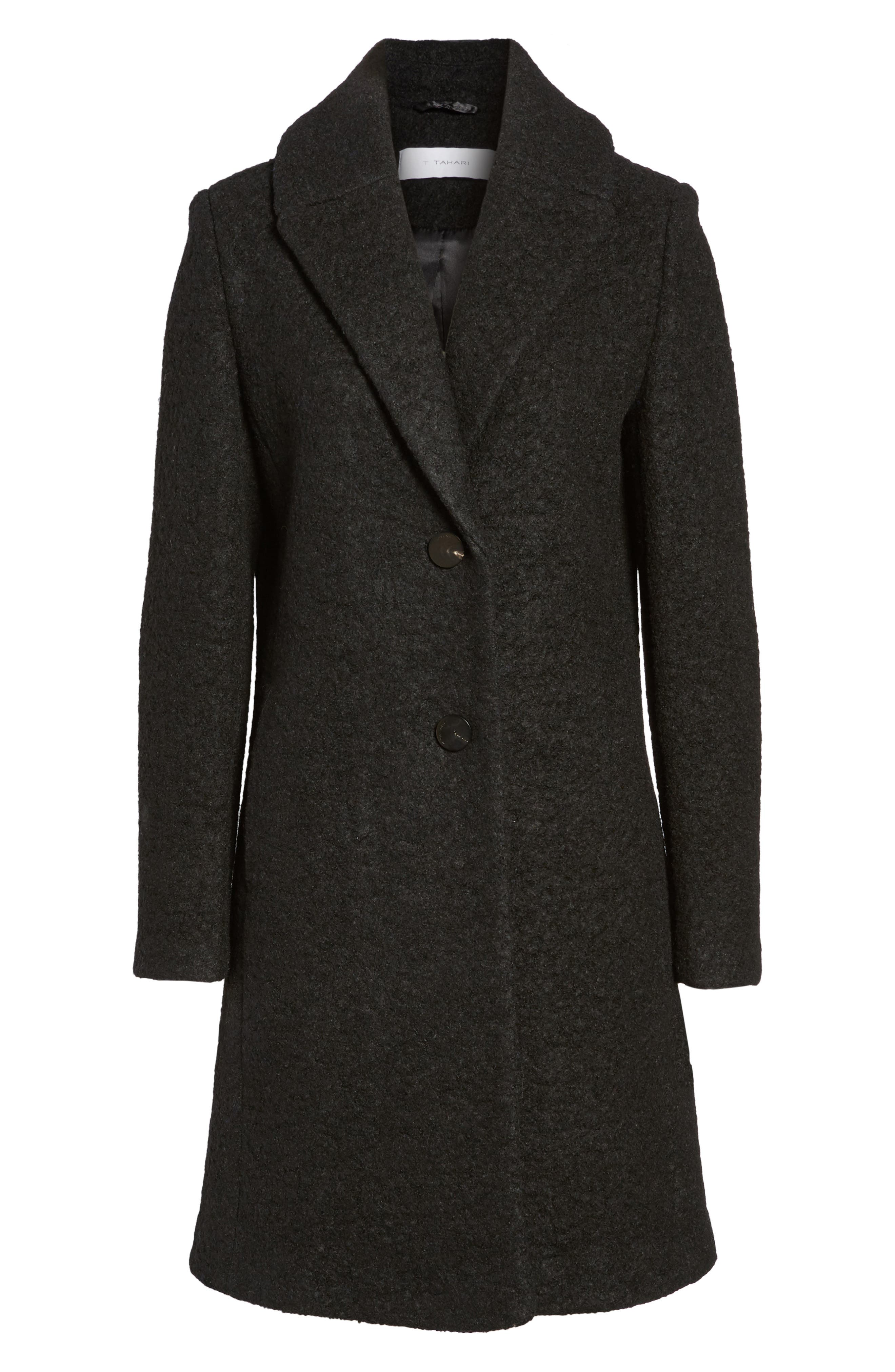 'Tessa' Boiled Wool Blend Coat,                             Alternate thumbnail 5, color,                             001