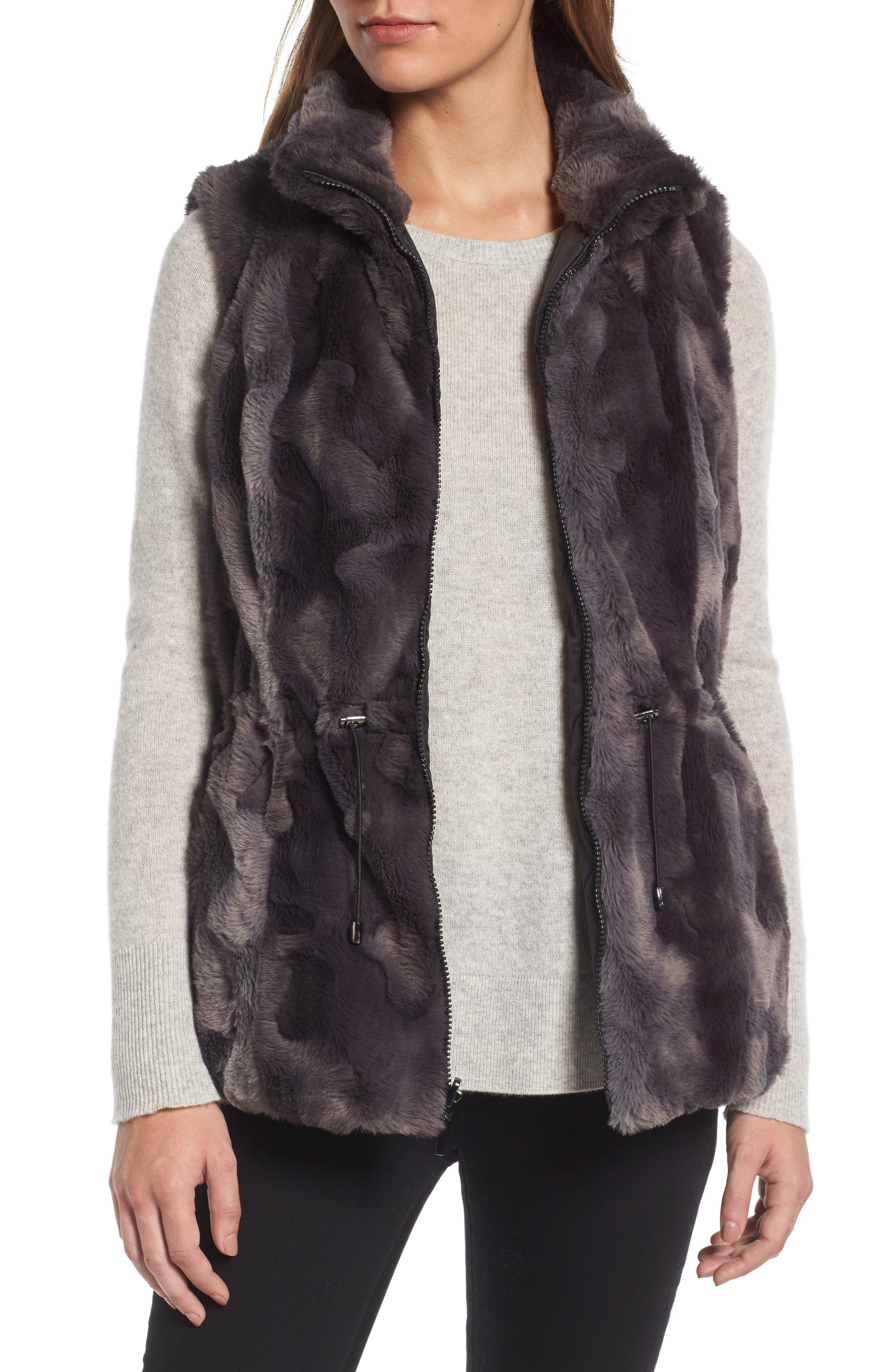 GALLERY,                             Reversible Faux Fur Vest,                             Alternate thumbnail 4, color,                             001
