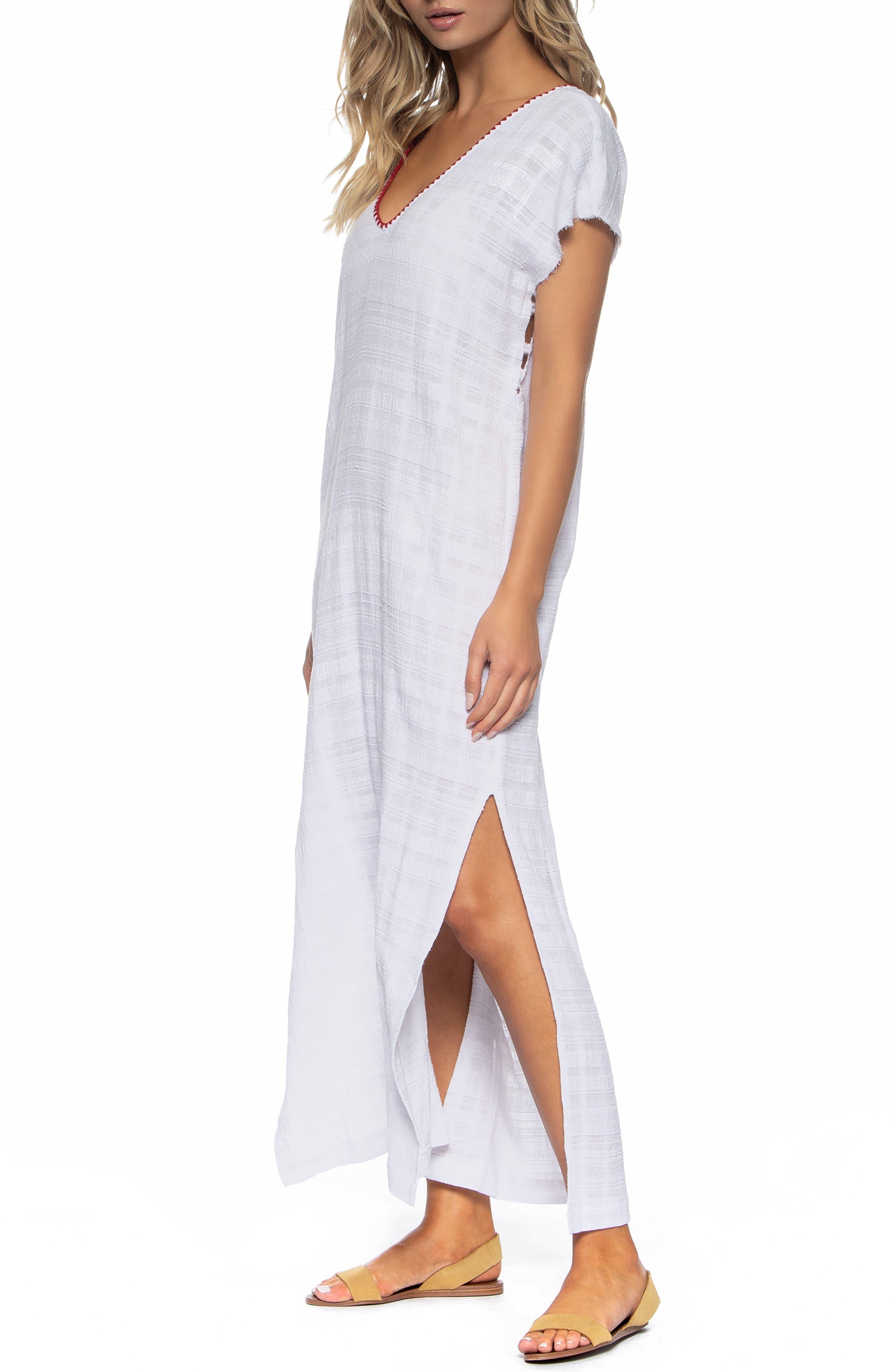 Tasha Cover-Up Maxi Dress,                             Alternate thumbnail 3, color,                             WHITE