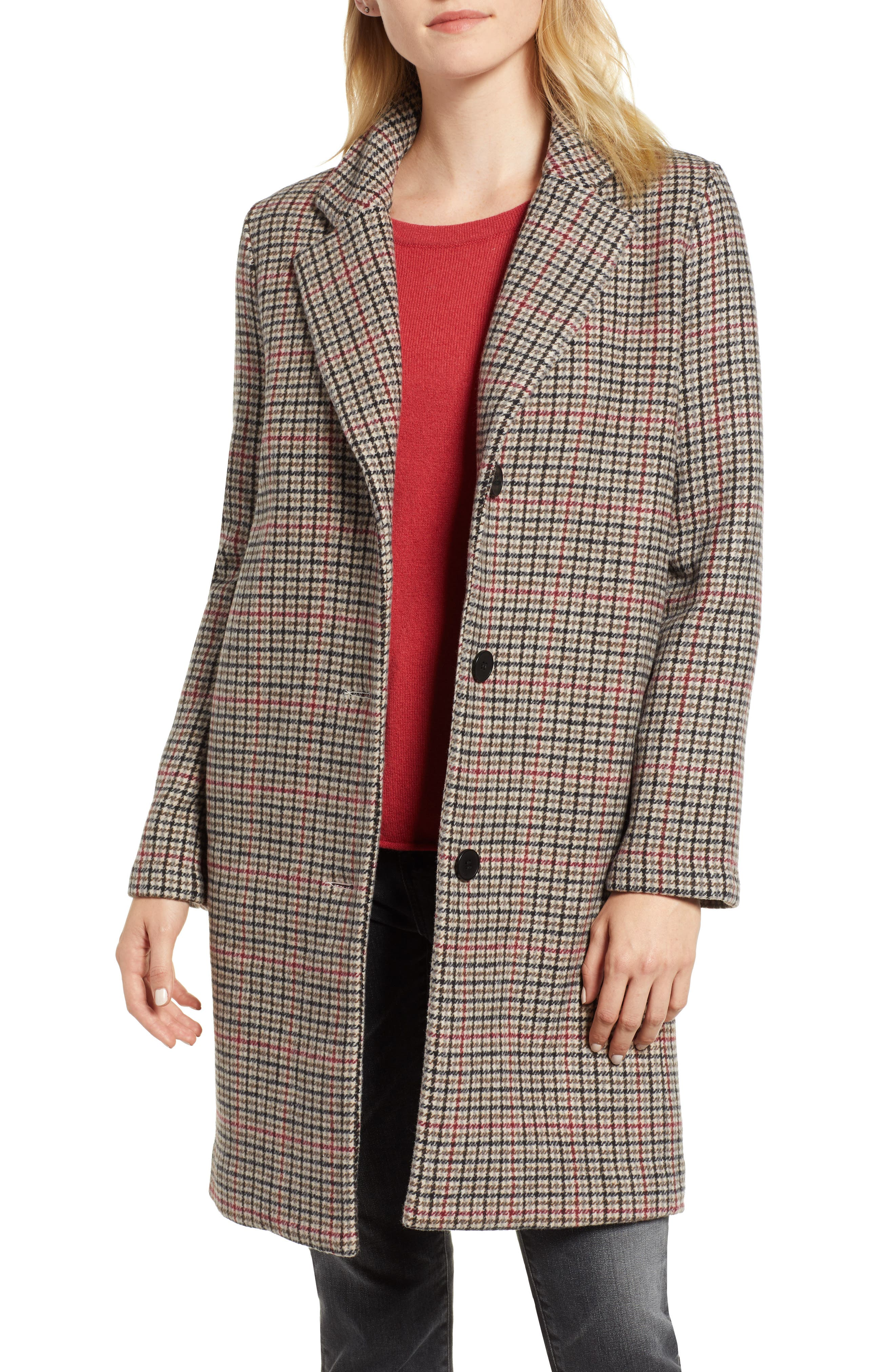 Houndstooth Car Coat,                         Main,                         color, MULTI