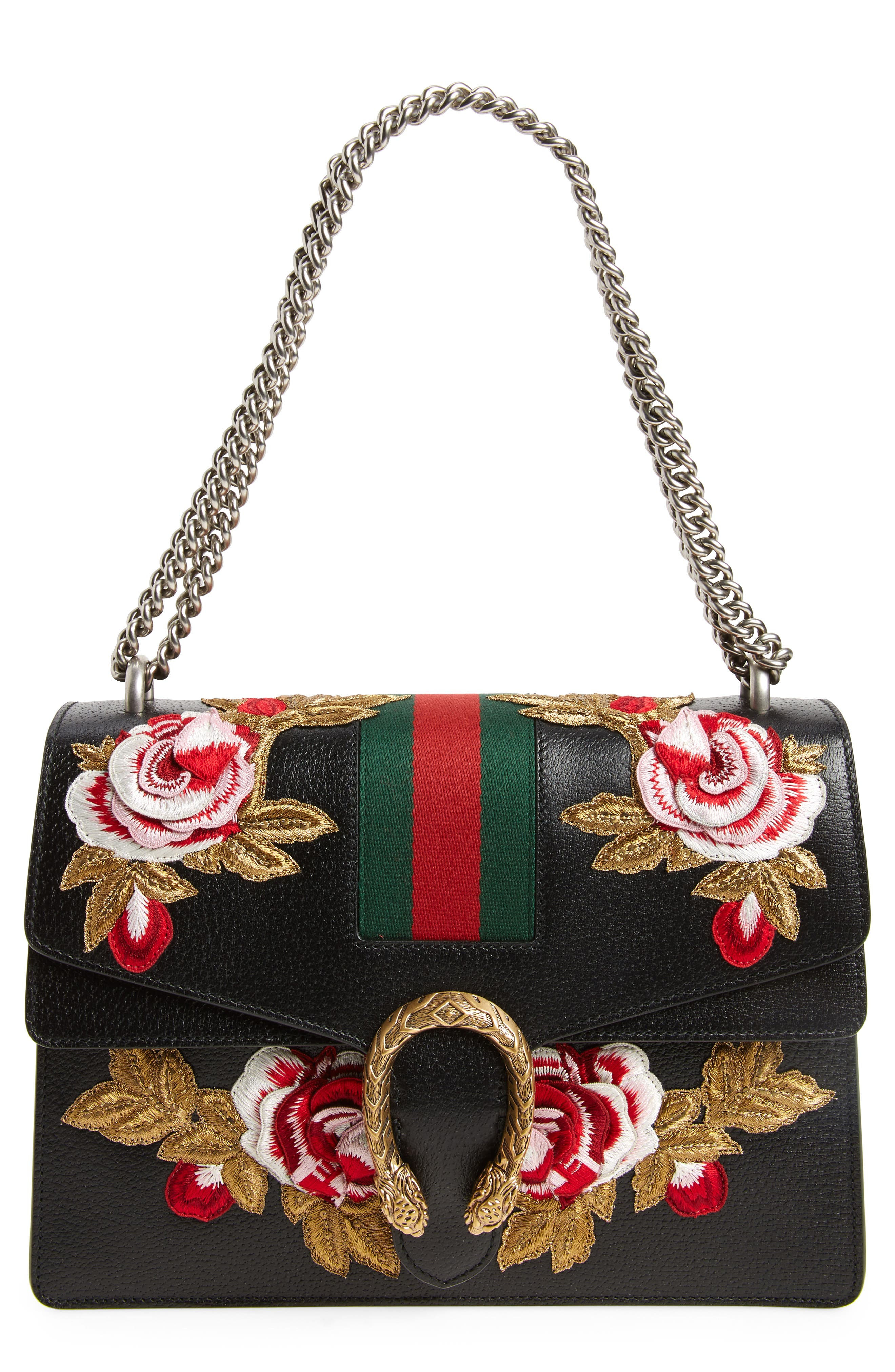 Medium Dionysus Embroidered Roses Leather Shoulder Bag,                             Main thumbnail 1, color,                             NERO/MULTI