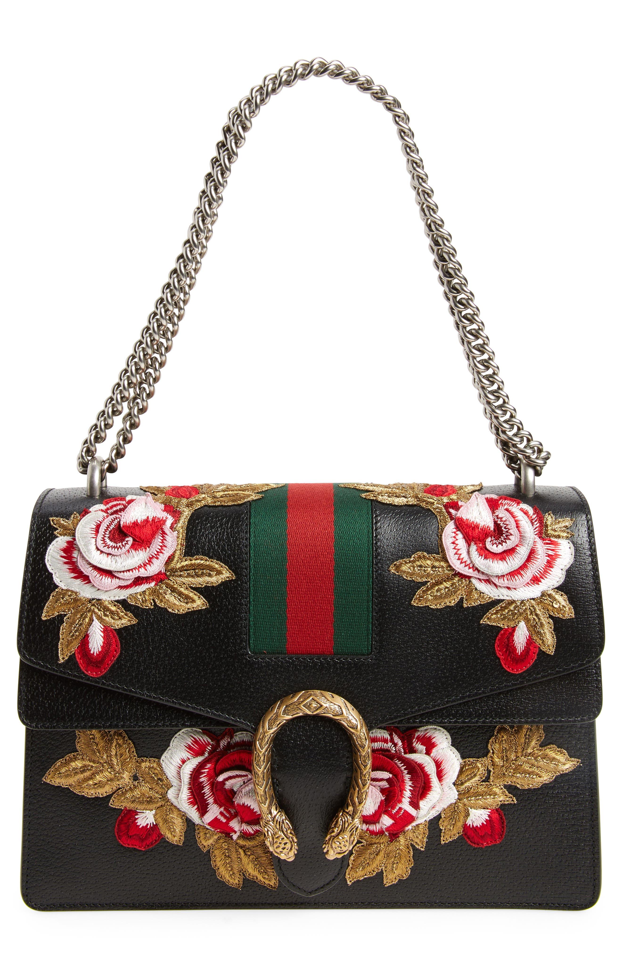 Medium Dionysus Embroidered Roses Leather Shoulder Bag,                         Main,                         color, 977