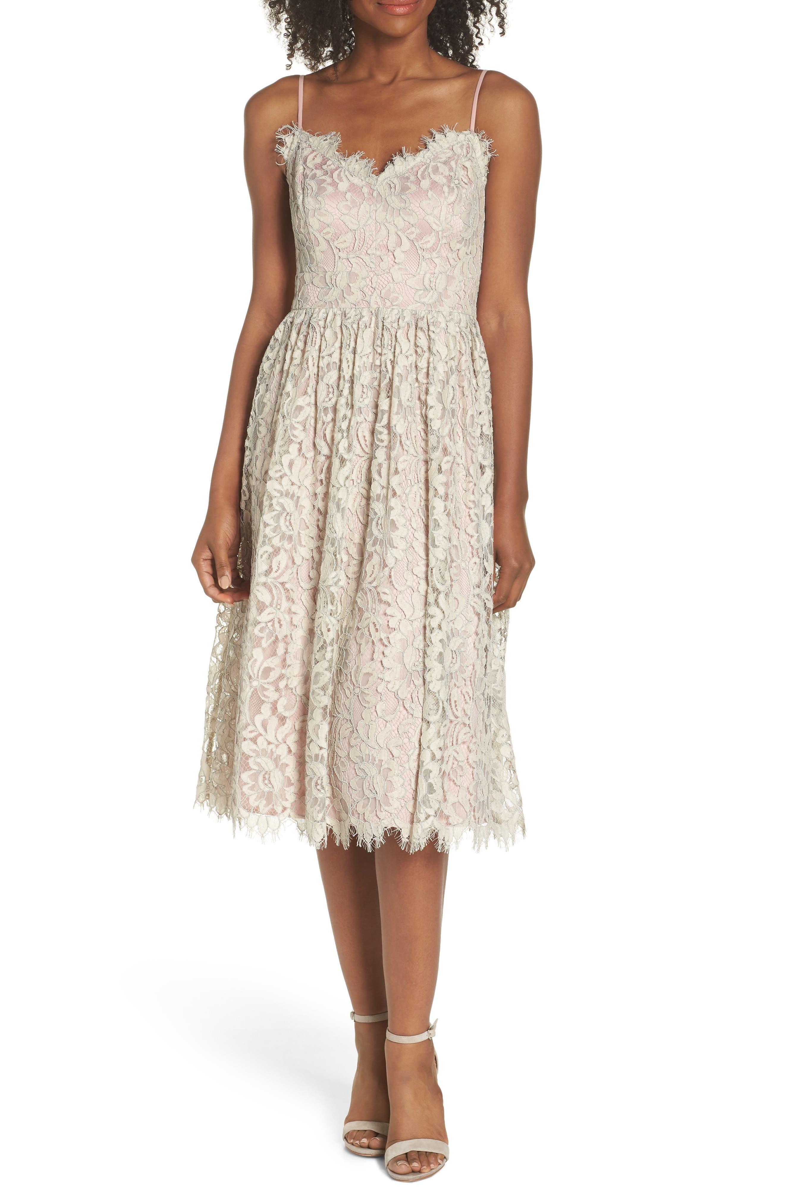Lace Fit & Flare Dress,                         Main,                         color, 900