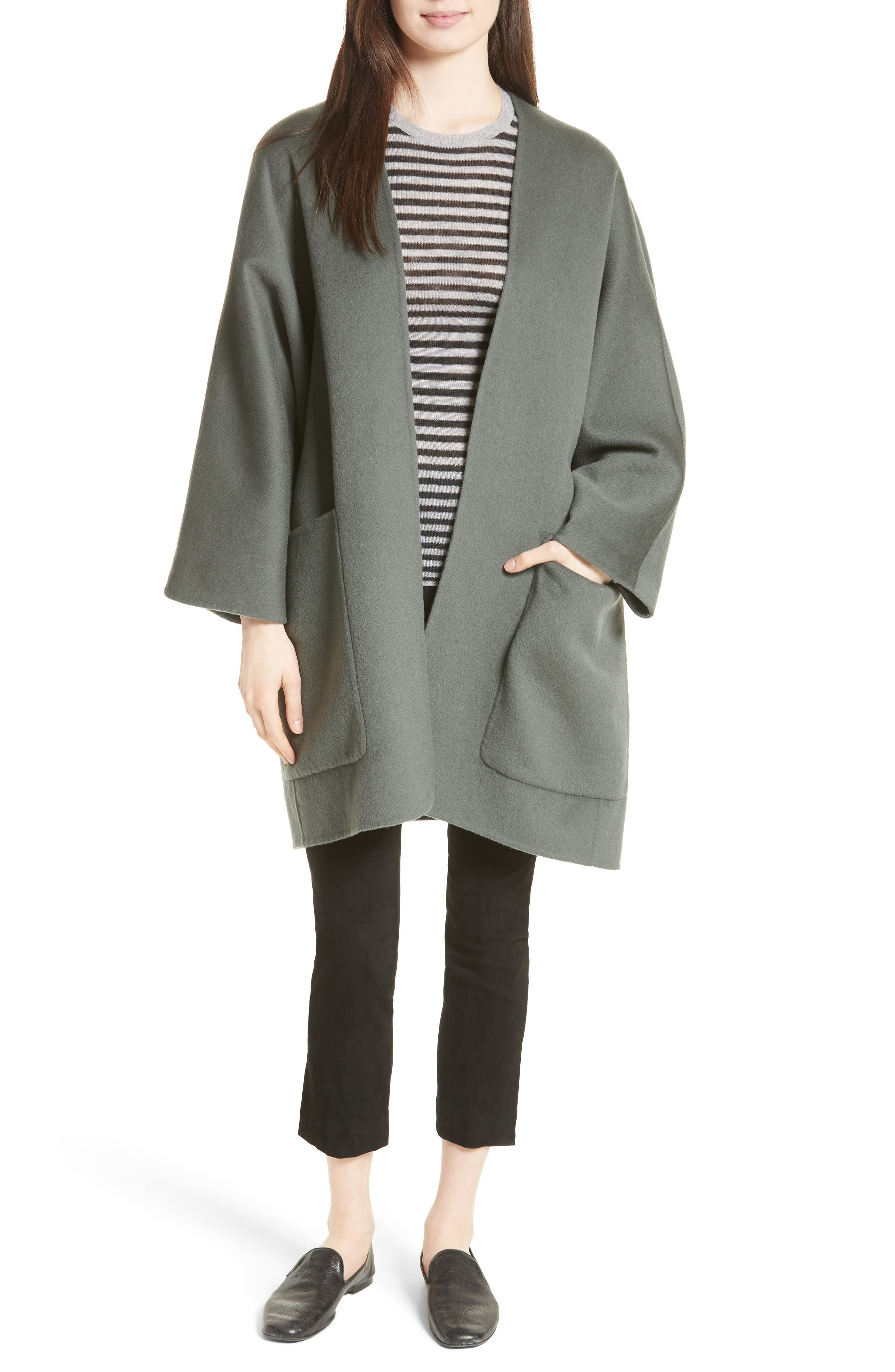 Reversible Wool & Cashmere Clutch Coat,                             Alternate thumbnail 14, color,