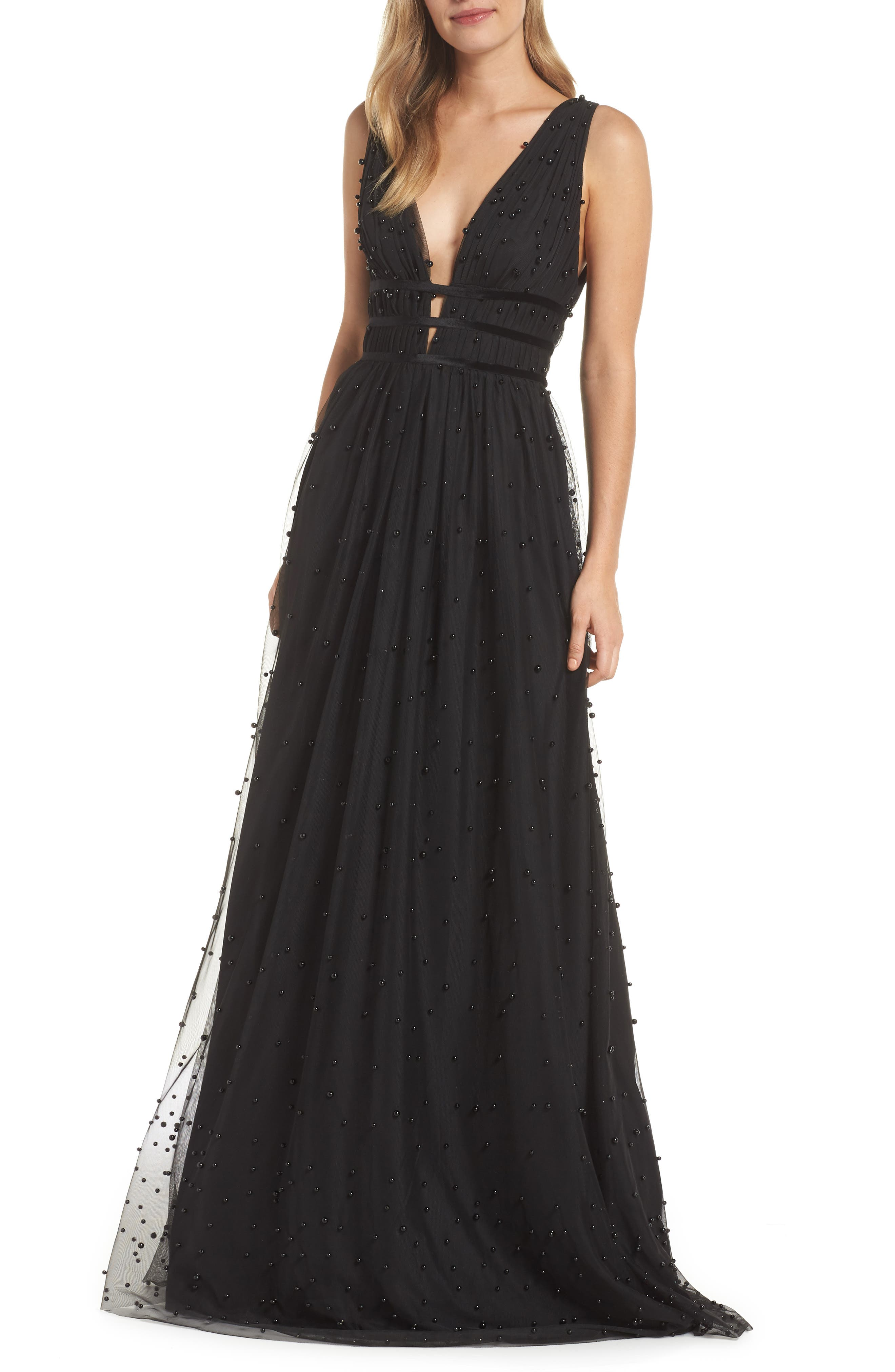 Beaded Mesh Gown,                         Main,                         color, JET