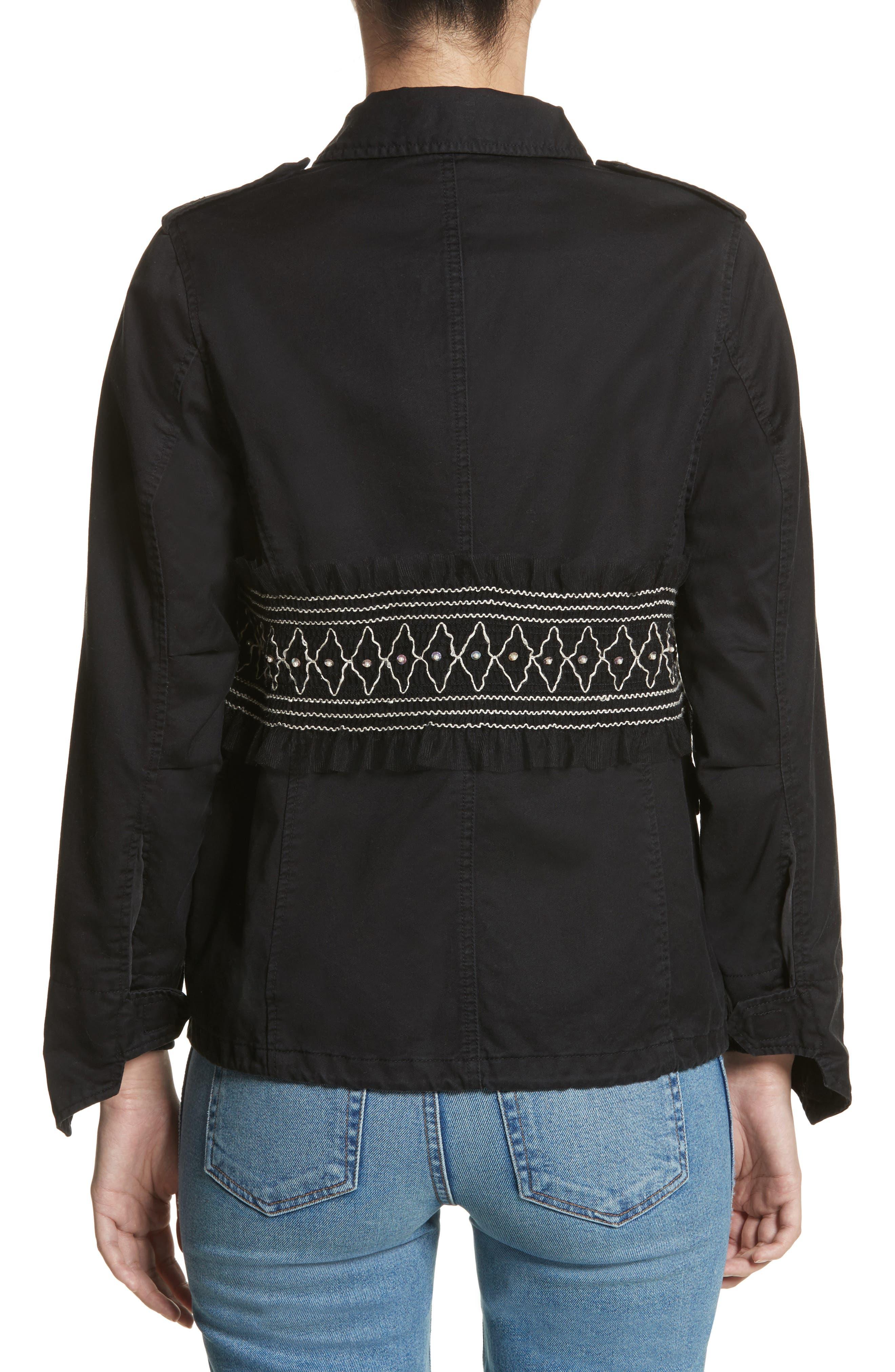 Smocked Embellished Belted Field Jacket,                             Alternate thumbnail 2, color,                             001