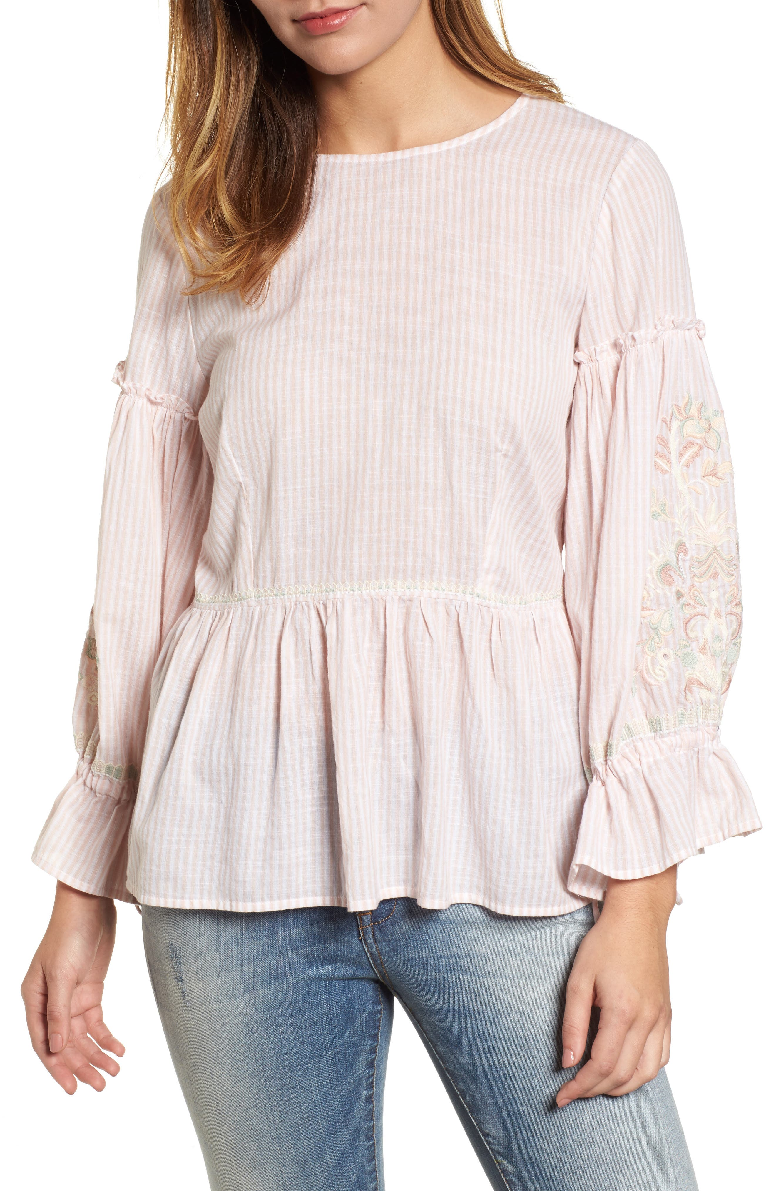 Embroidered Sleeve Top,                             Main thumbnail 2, color,