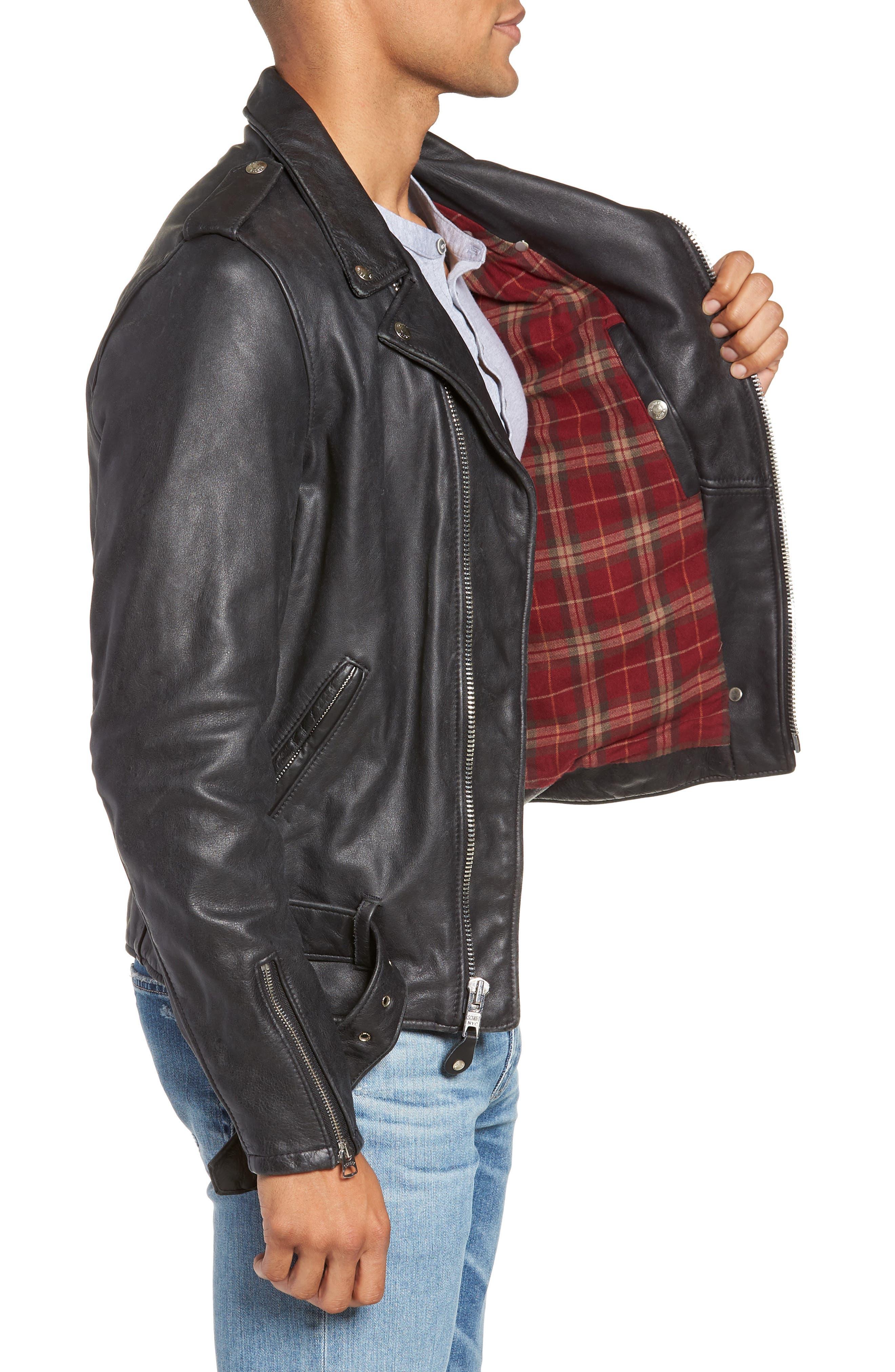 Hand Vintaged Cowhide Leather Motocycle Jacket,                             Alternate thumbnail 3, color,                             BLACK