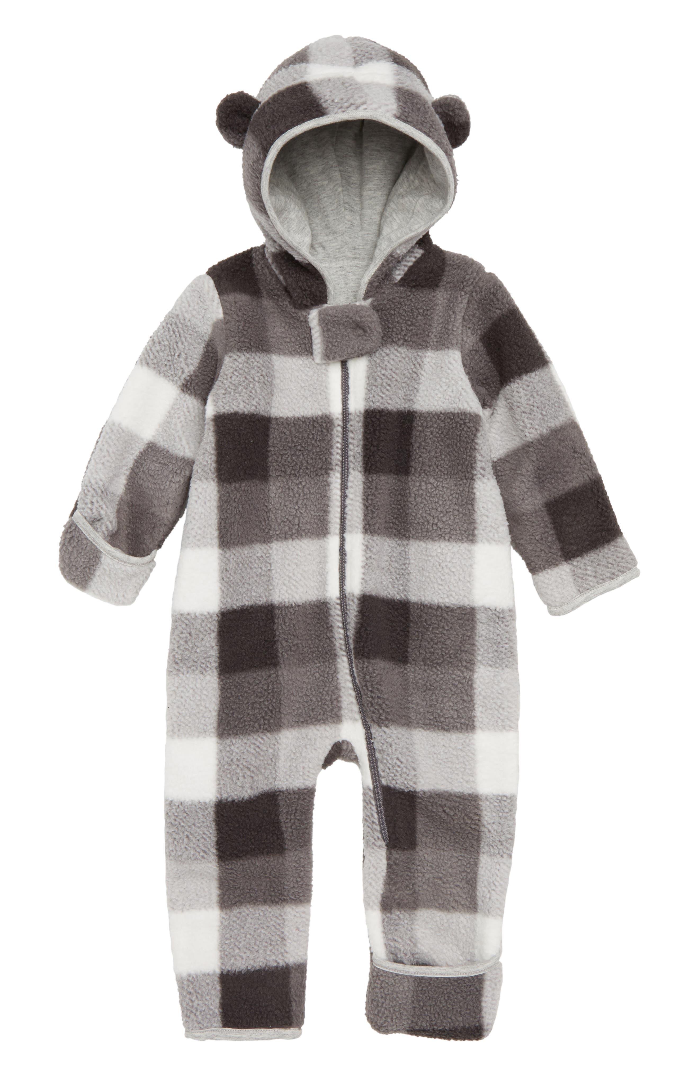 Check Fleece Hooded Bunting,                             Main thumbnail 1, color,                             IVORY EGRET- GREY CHECK