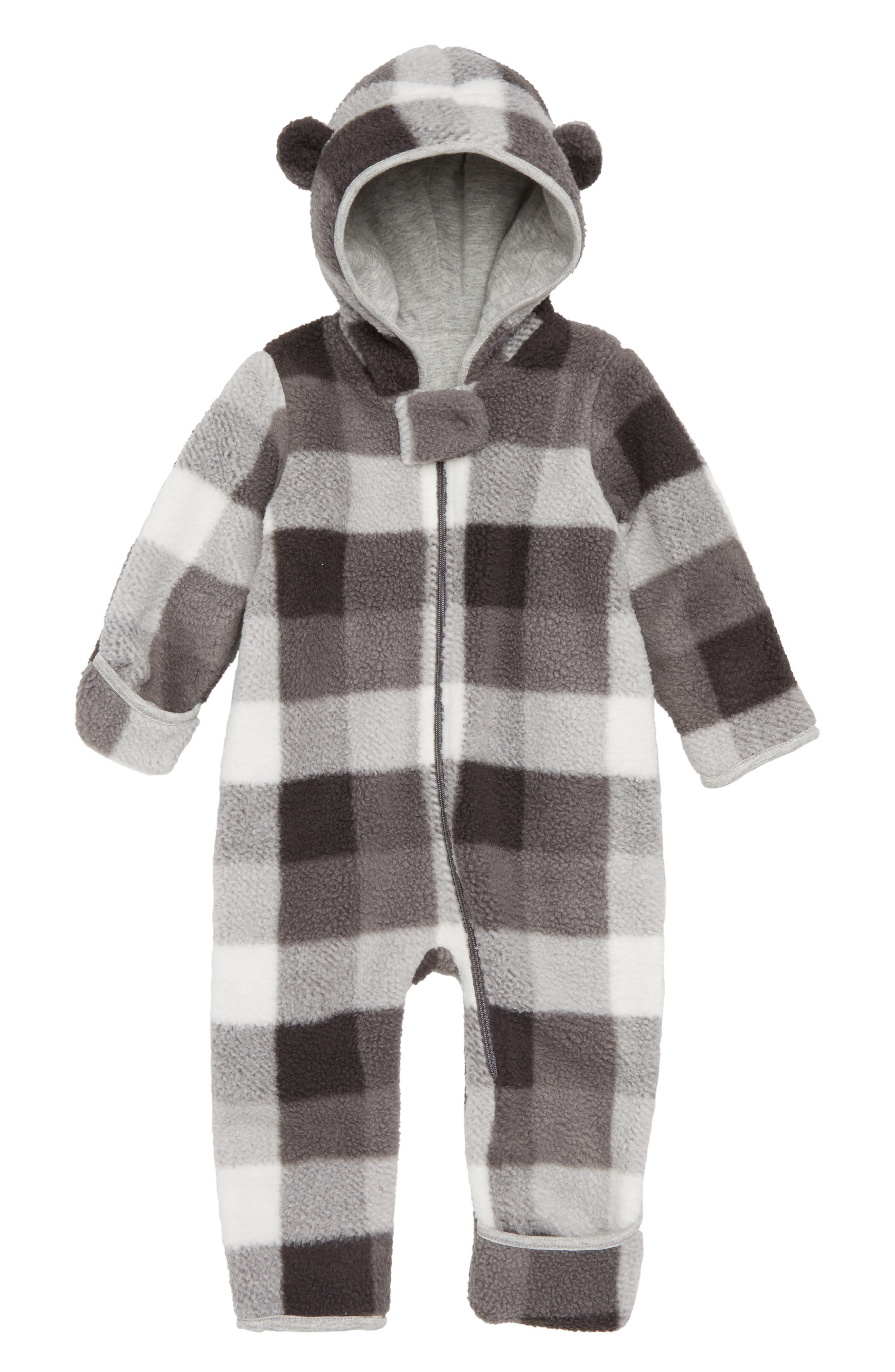 Check Fleece Hooded Bunting,                         Main,                         color, IVORY EGRET- GREY CHECK