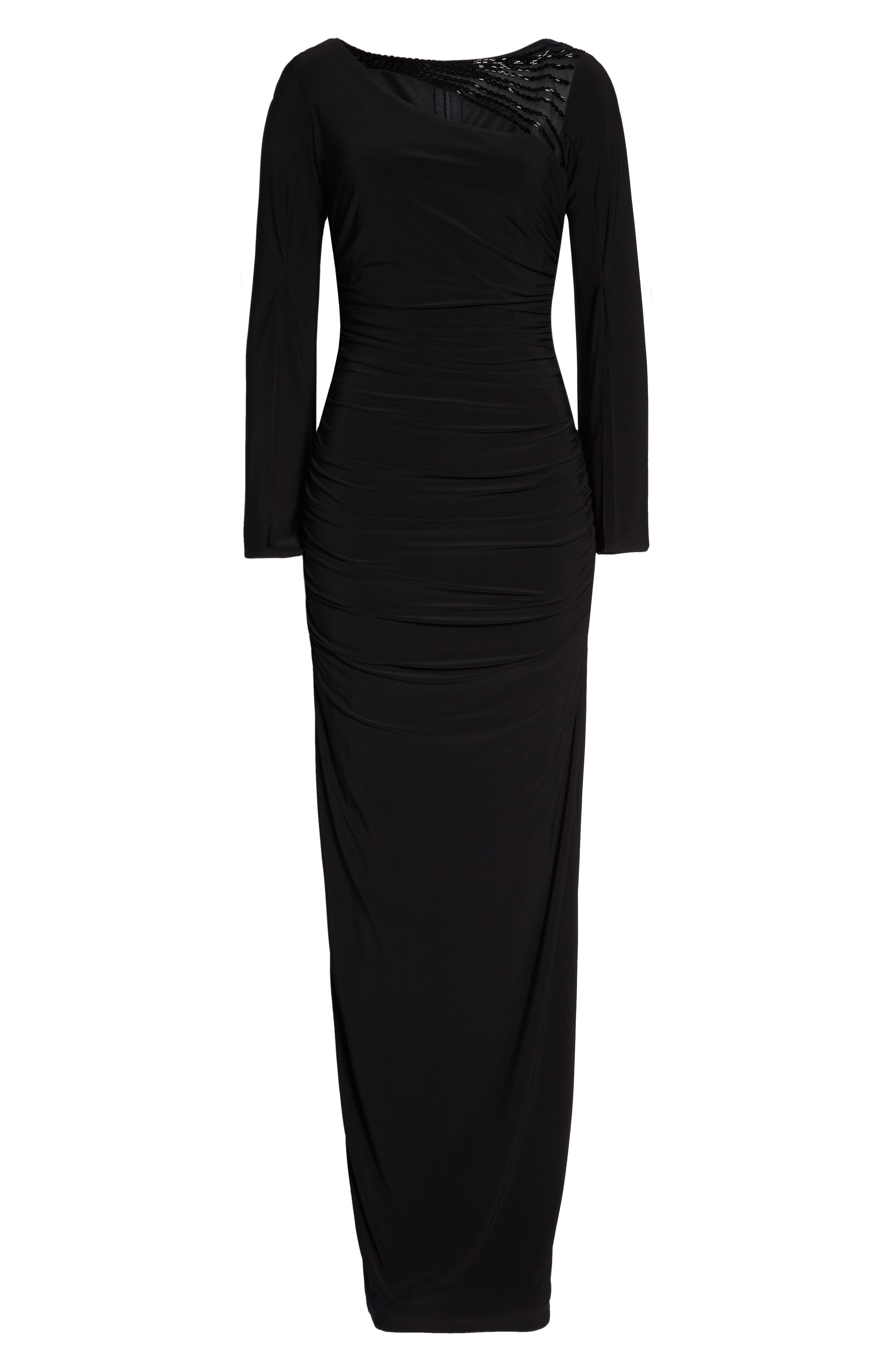 Jersey Gown,                             Alternate thumbnail 7, color,                             BLACK
