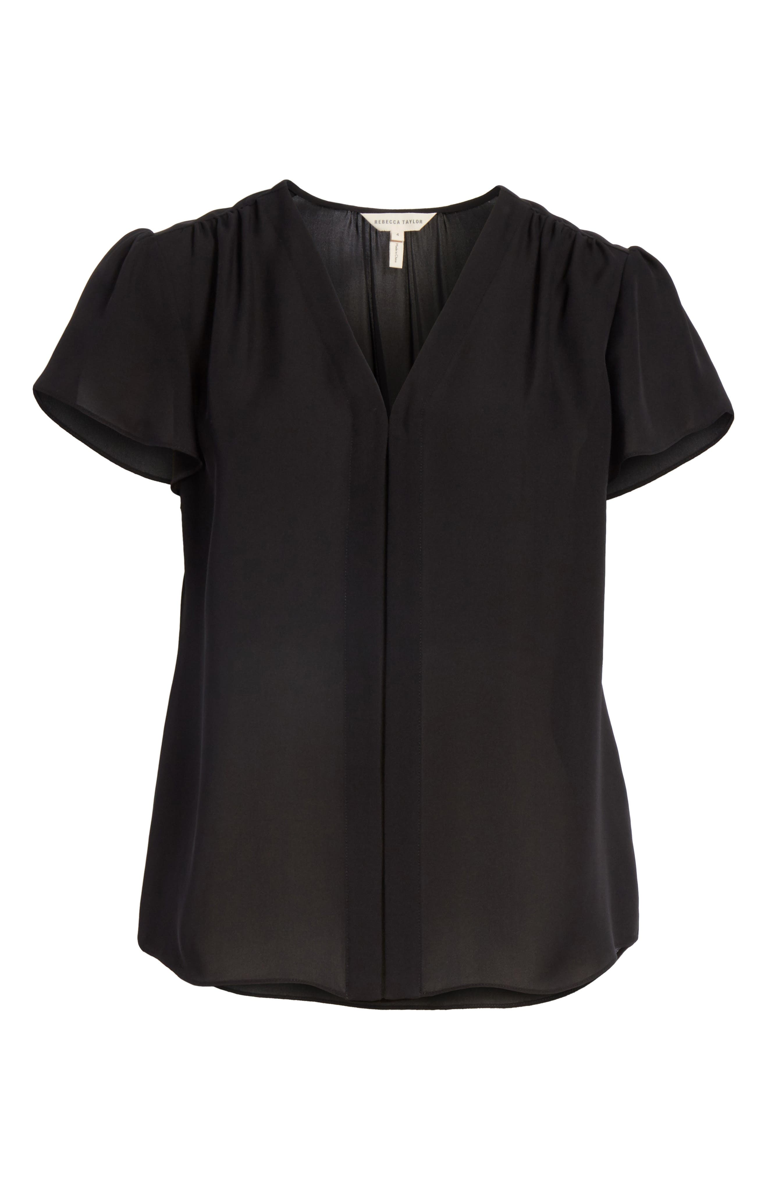 Celina Silk Top,                             Alternate thumbnail 6, color,                             BLACK