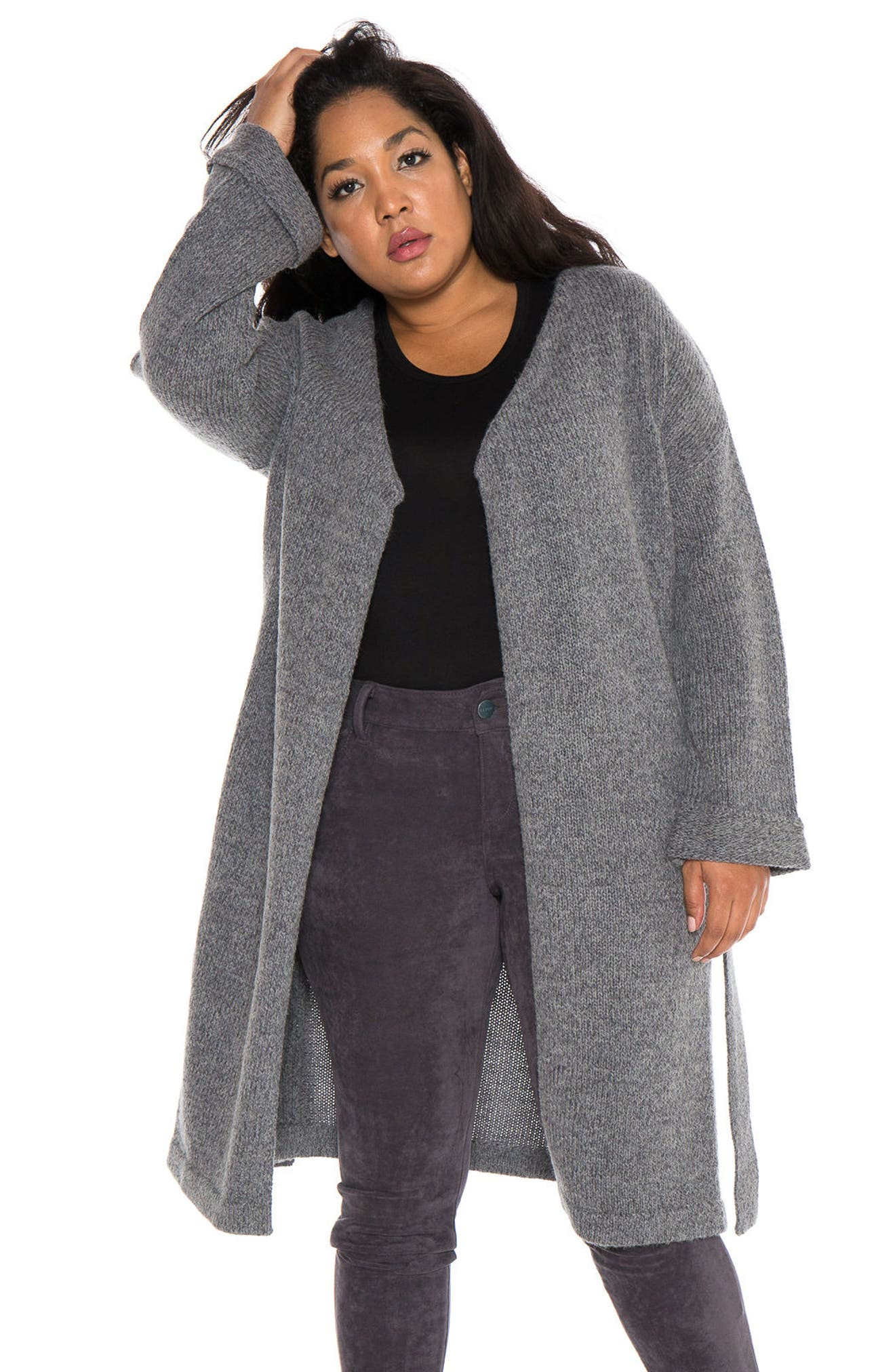 Side Button Long Cardigan,                             Alternate thumbnail 6, color,