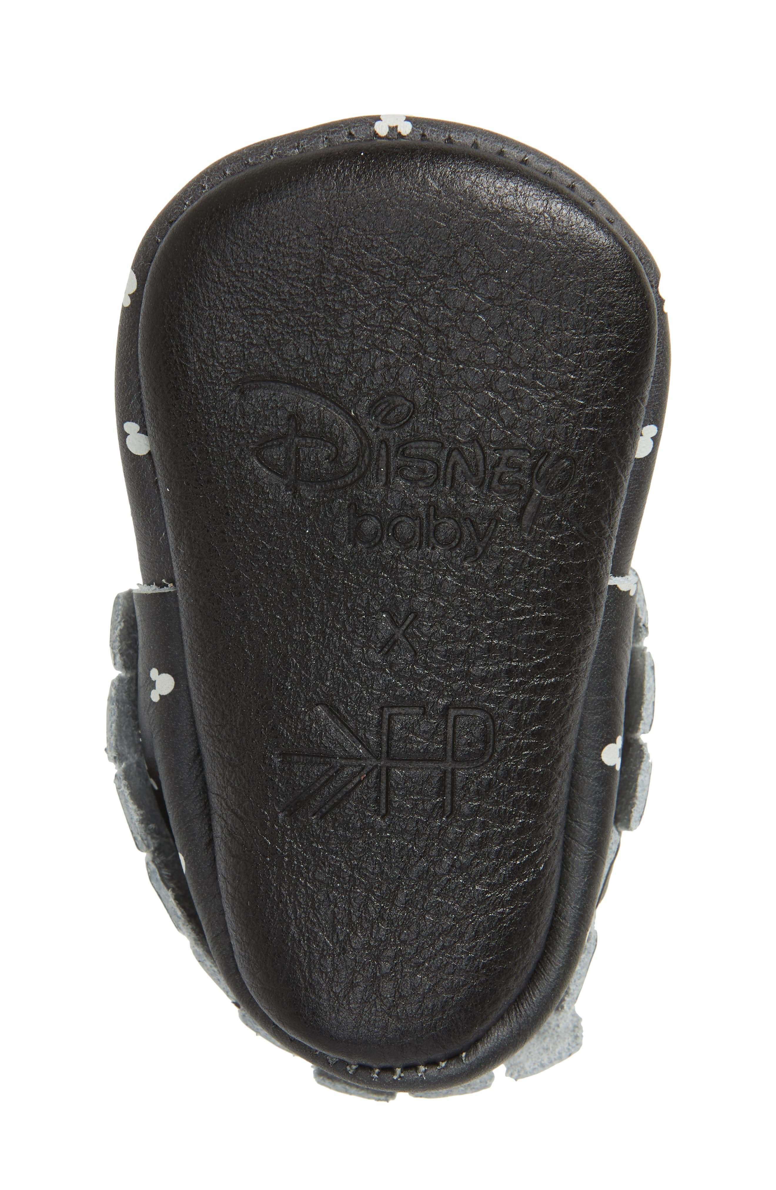 x Disney<sup>®</sup> Mouse Ears Print Moccasin,                             Alternate thumbnail 6, color,                             BLACK LEATHER