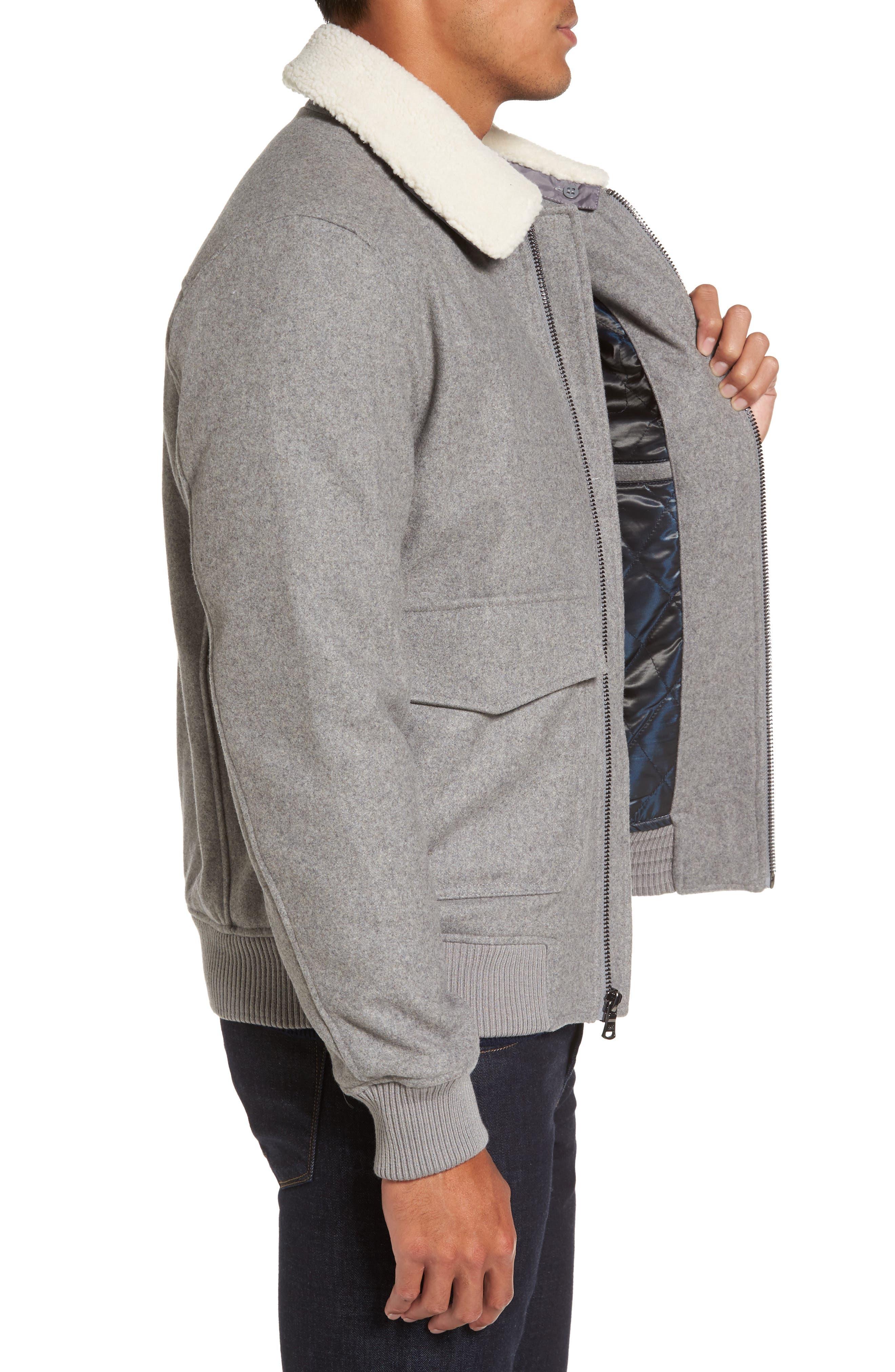 Fleece Collar Wool Blend A-2 Jacket,                             Alternate thumbnail 3, color,                             034