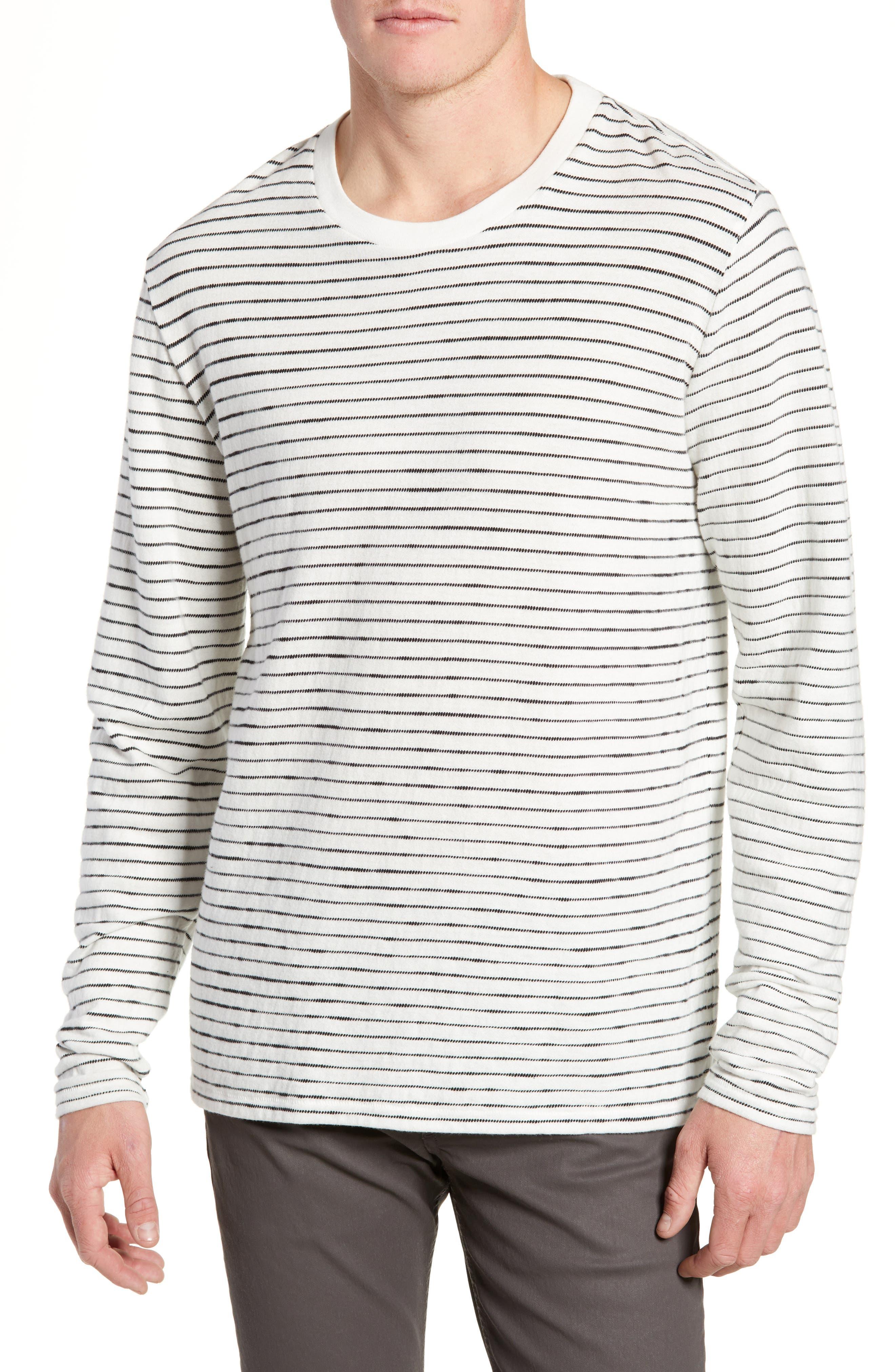 Railroad Stripe Long Sleeve T-Shirt, Main, color, IVORY/ BLACK