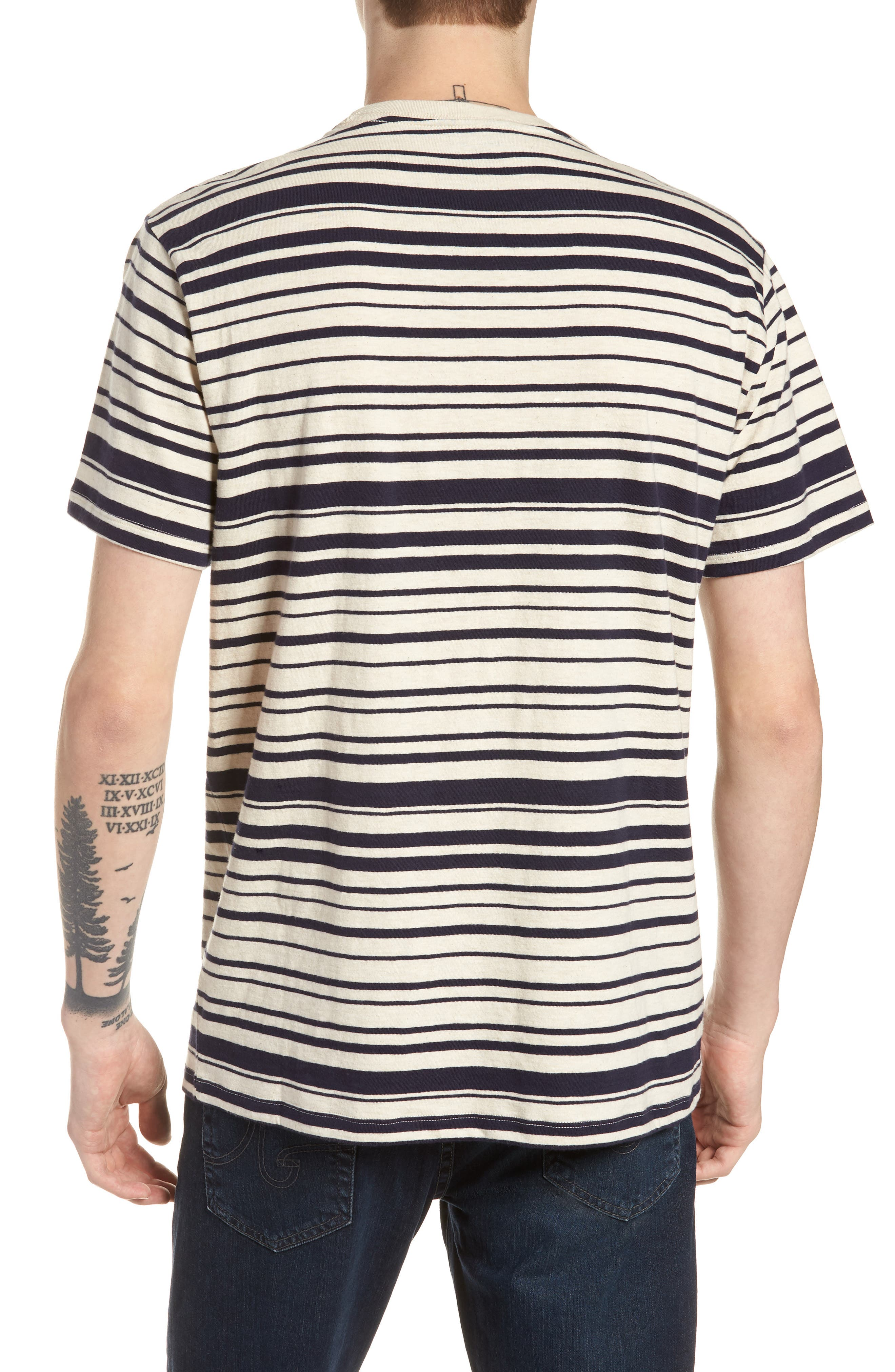 Variegated Stripe Slub Cotton T-Shirt,                             Alternate thumbnail 2, color,