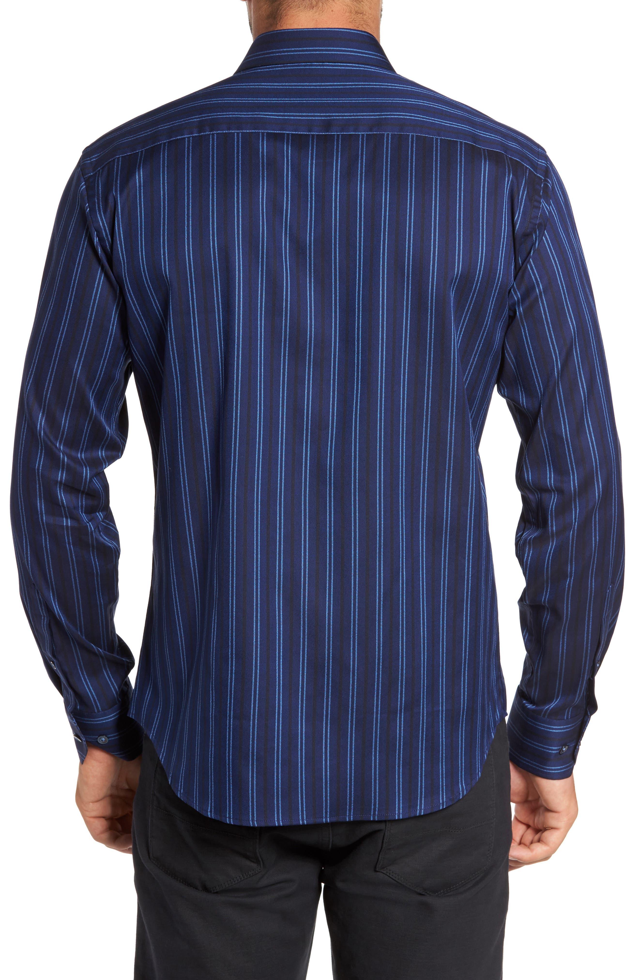 Shaped Fit Stripe Sport Shirt,                             Alternate thumbnail 2, color,                             410