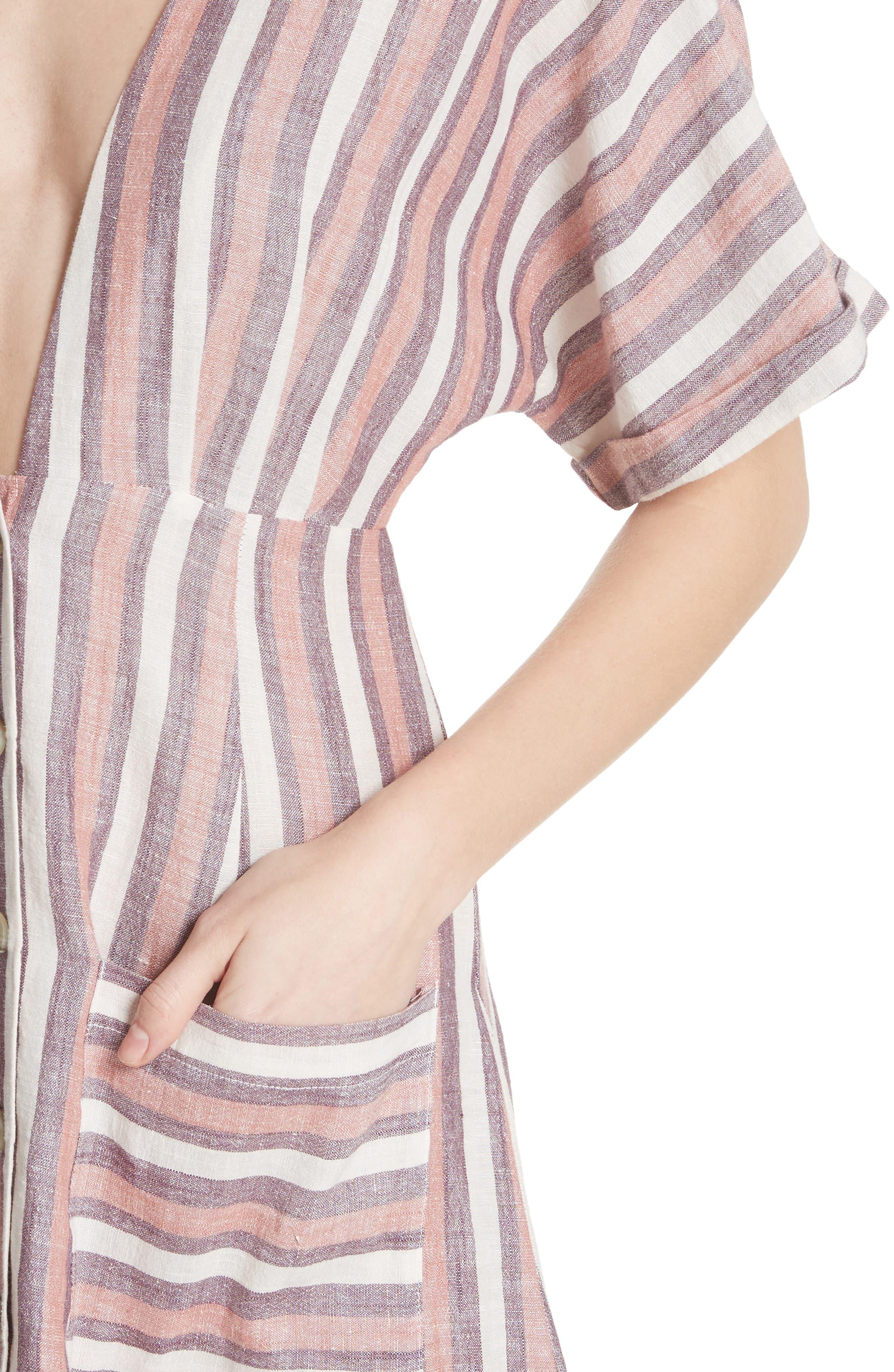 Monday Stripe Linen Blend Midi Dress,                             Alternate thumbnail 8, color,