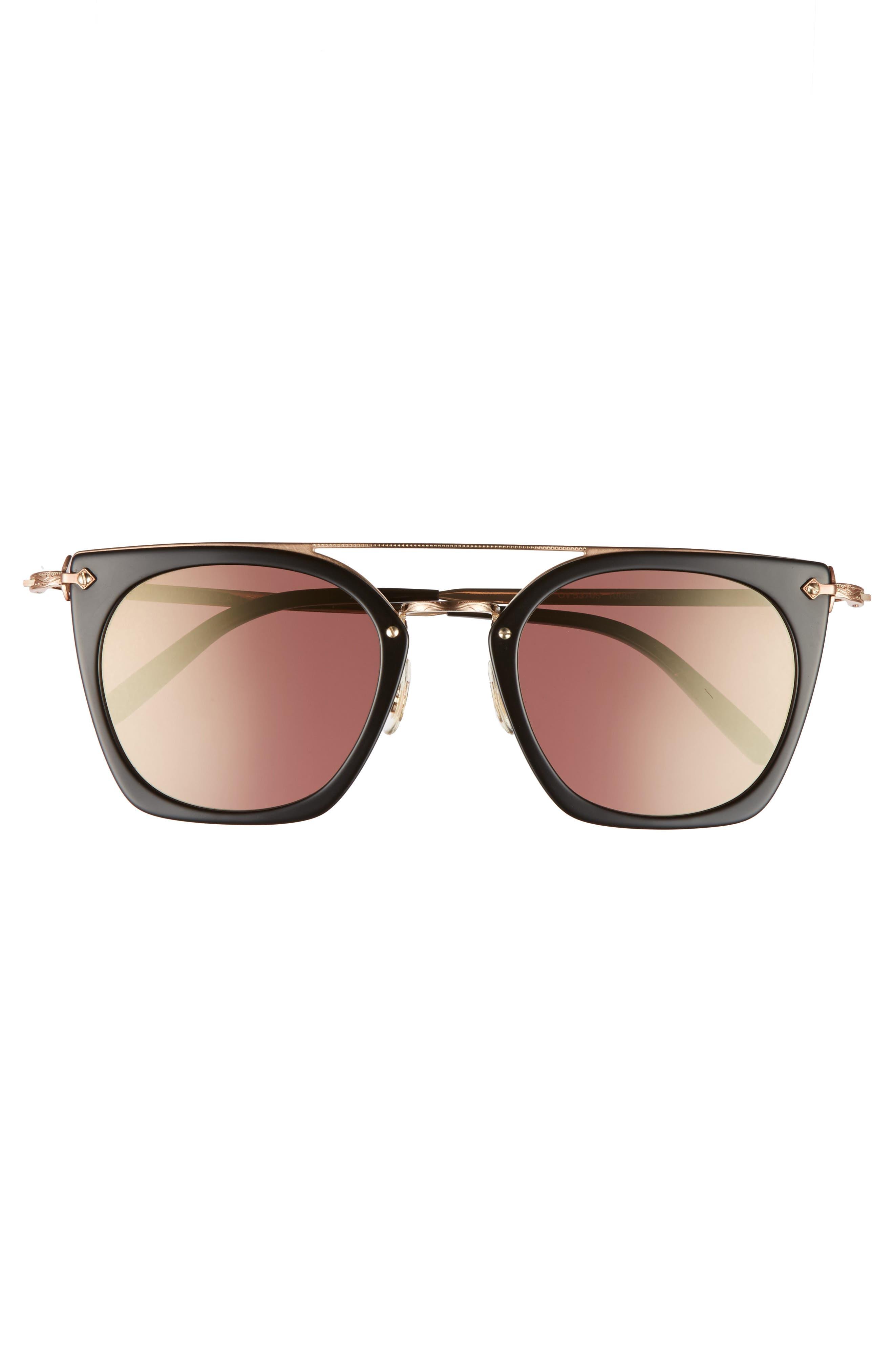 Dacette 50mm Square Aviator Sunglasses,                             Alternate thumbnail 3, color,                             BLACK/ ROSE GOLD